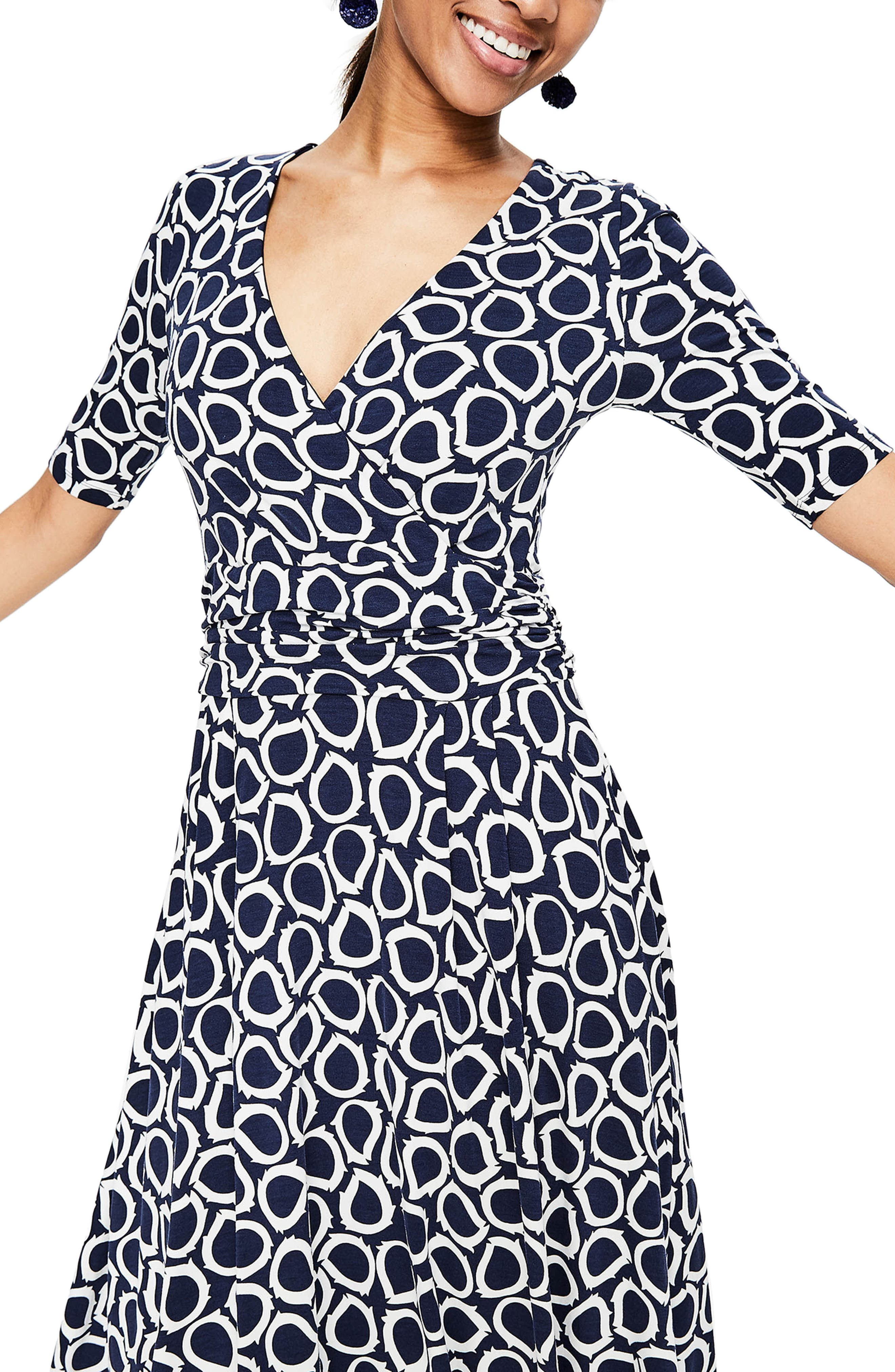 Kassidy Print Jersey Midi Dress,                             Alternate thumbnail 4, color,                             Navy Summer Leaves