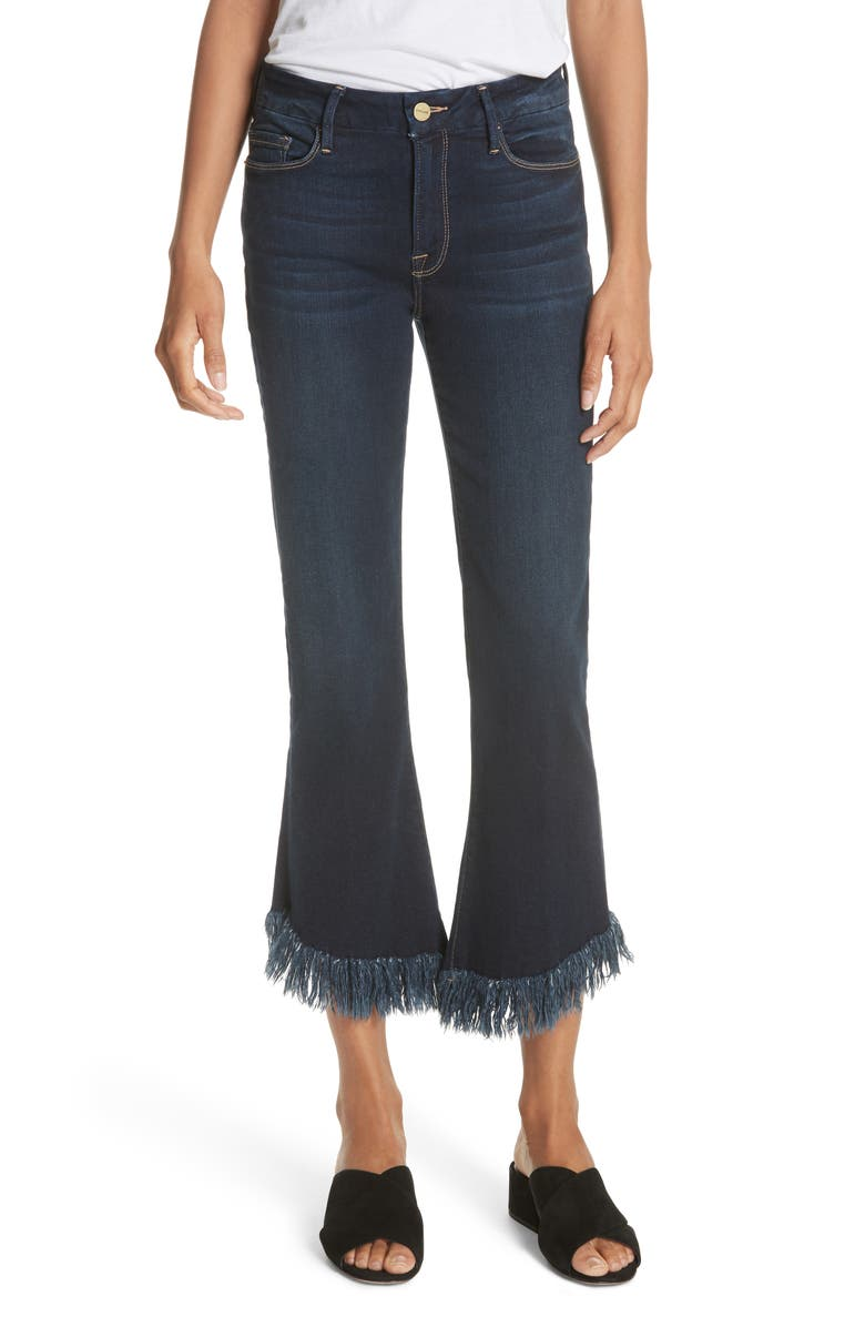 Le Crop Shredded Hem Mini Boot Jeans