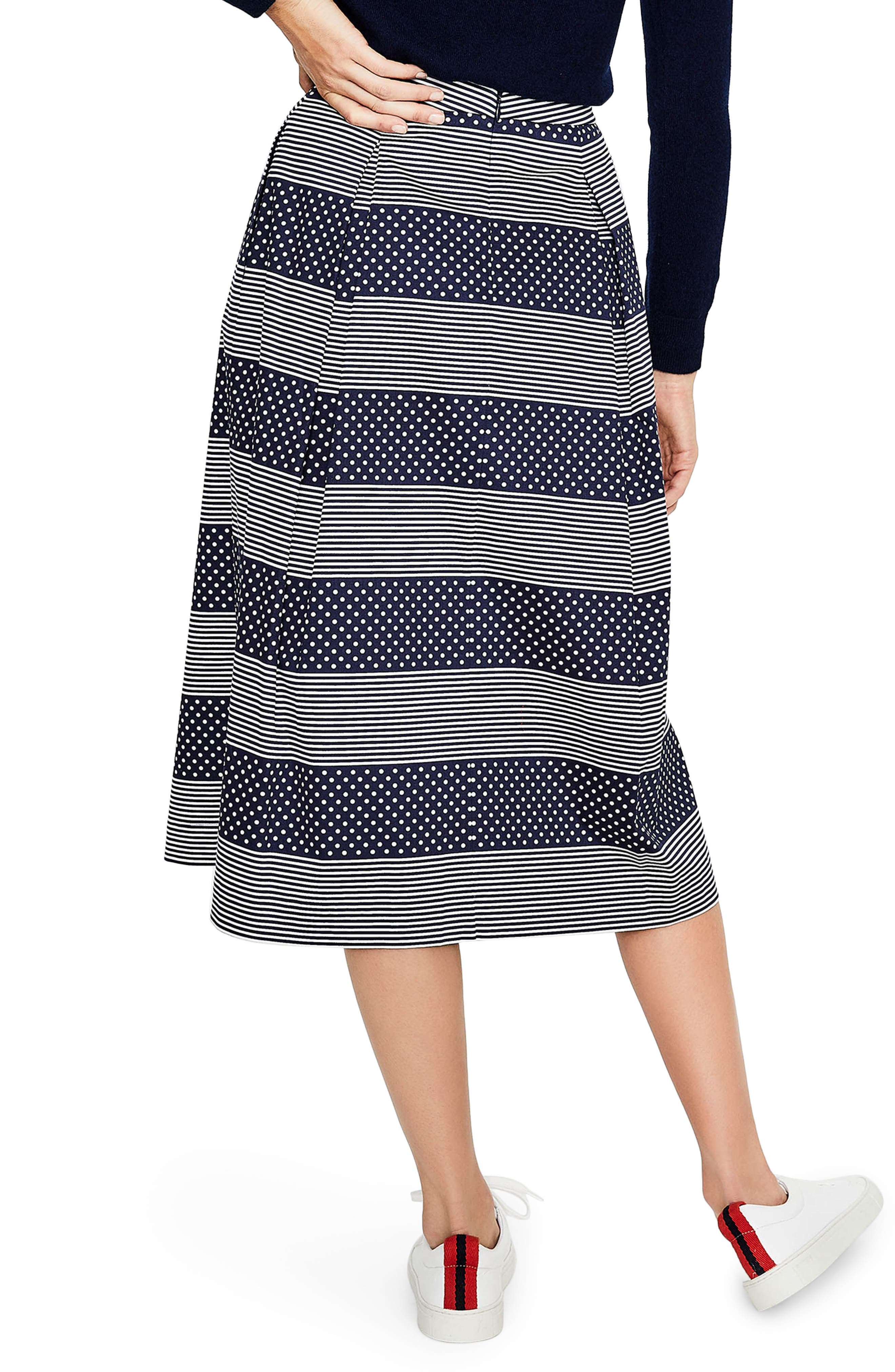 Lola Floral Flared Skirt,                             Alternate thumbnail 2, color,                             Navy/ Spot Stripe