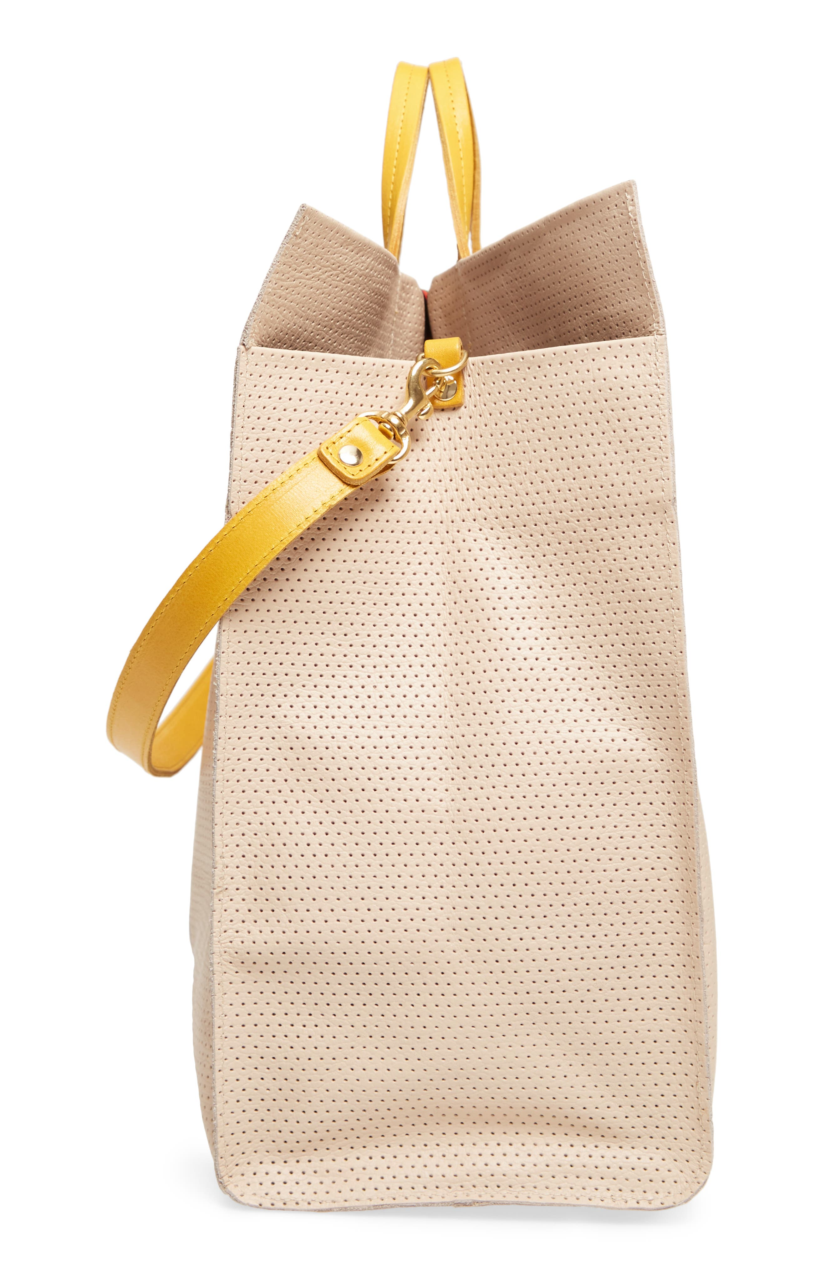 Alternate Image 5  - Clare V. Simple Stripe Perforated Leather Tote