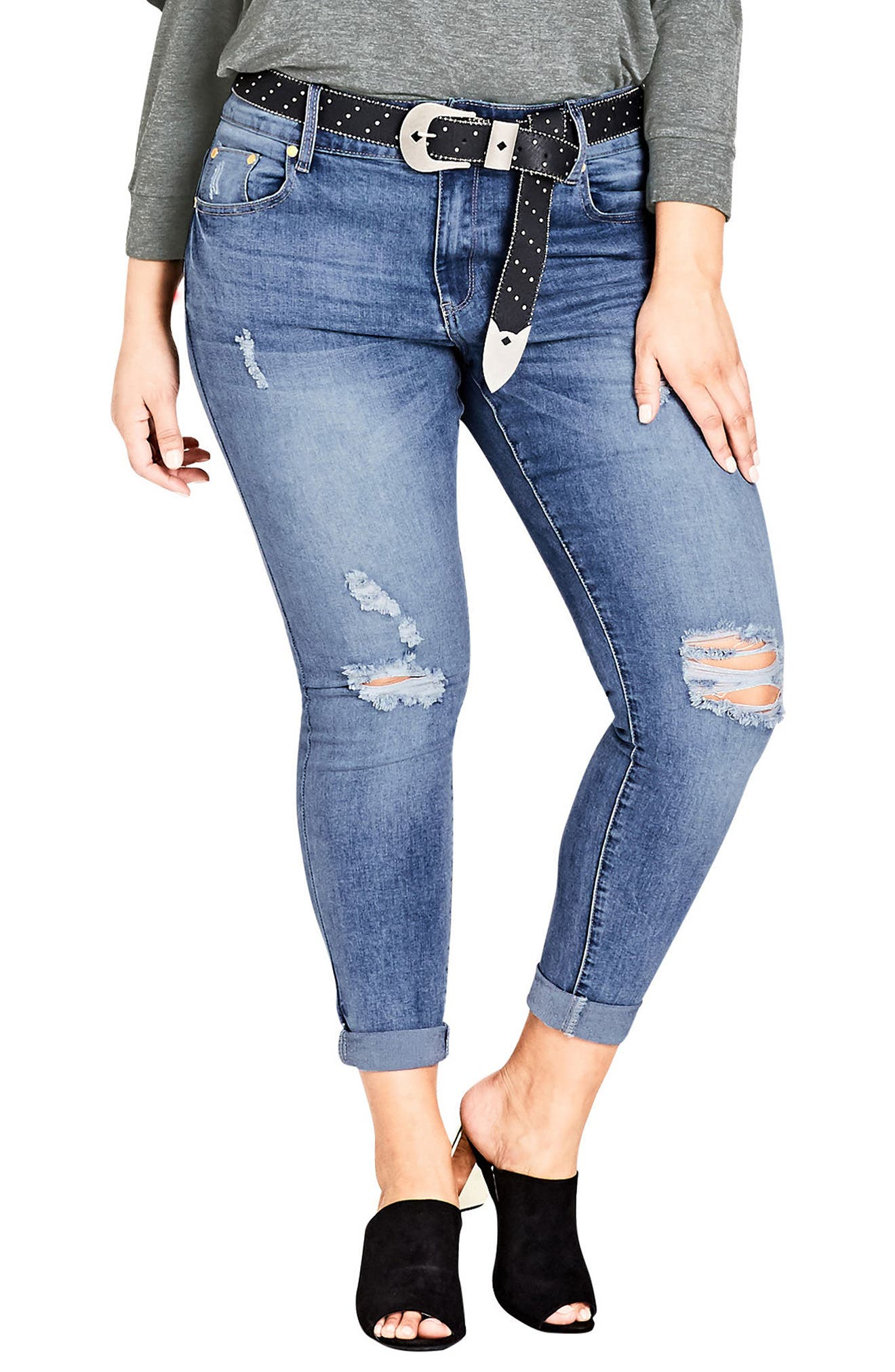Ripped Up Skinny Jeans,                         Main,                         color, Light Denim