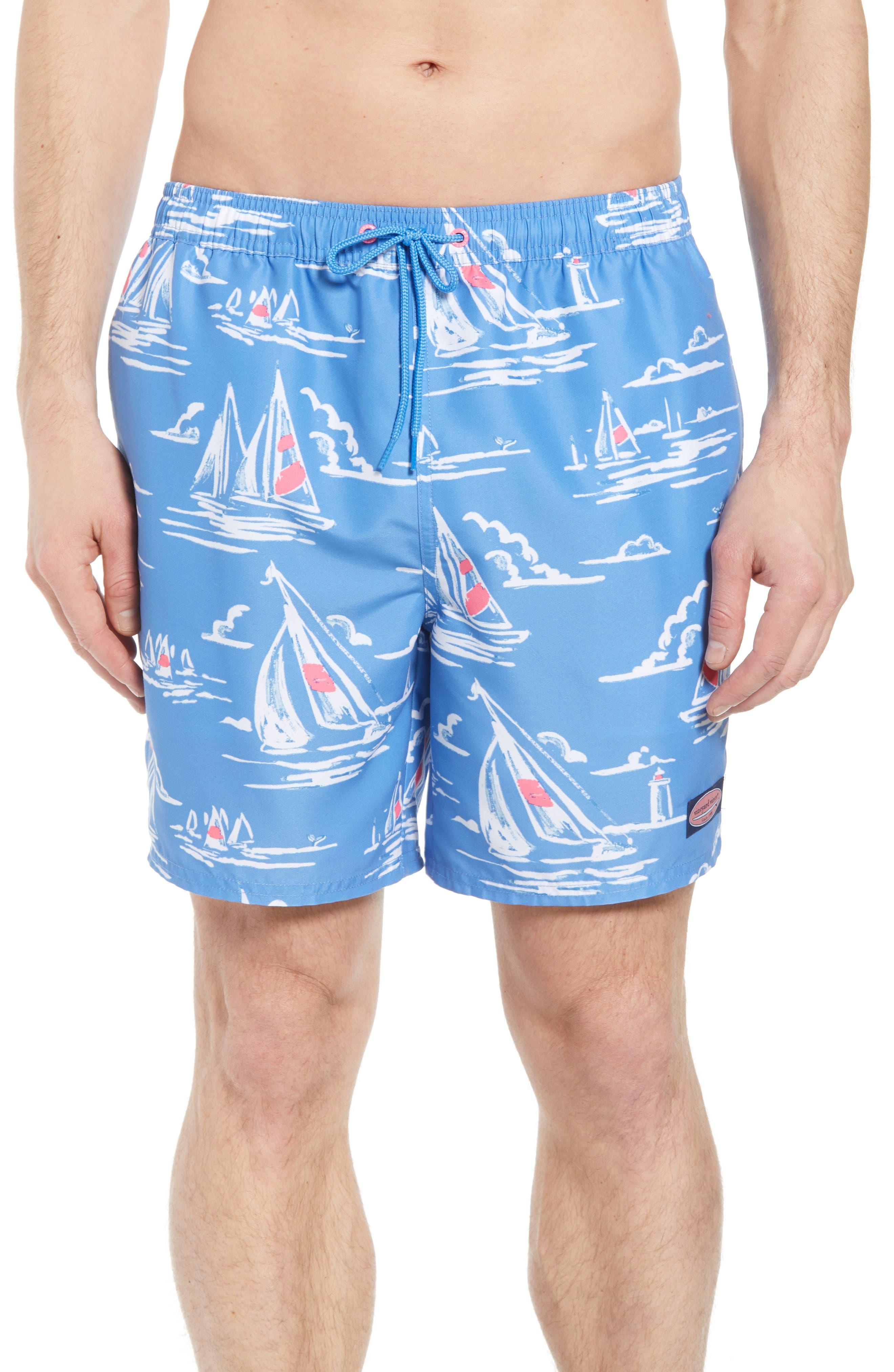 Chappy Sailing Scene Swim Trunks,                         Main,                         color, Cornflower