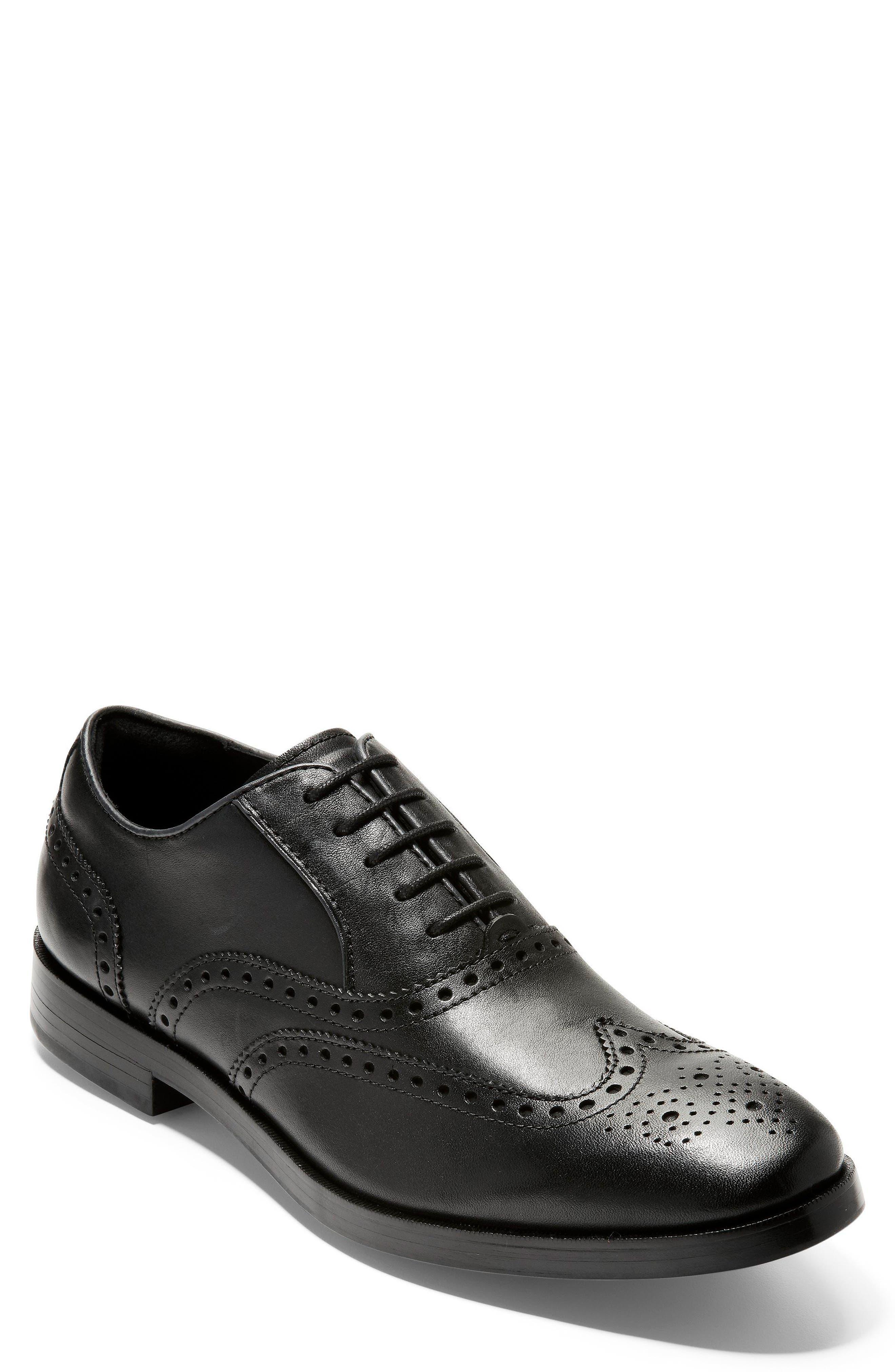 Hamilton Grand Wing-Tip Oxford, Black in Black Leather