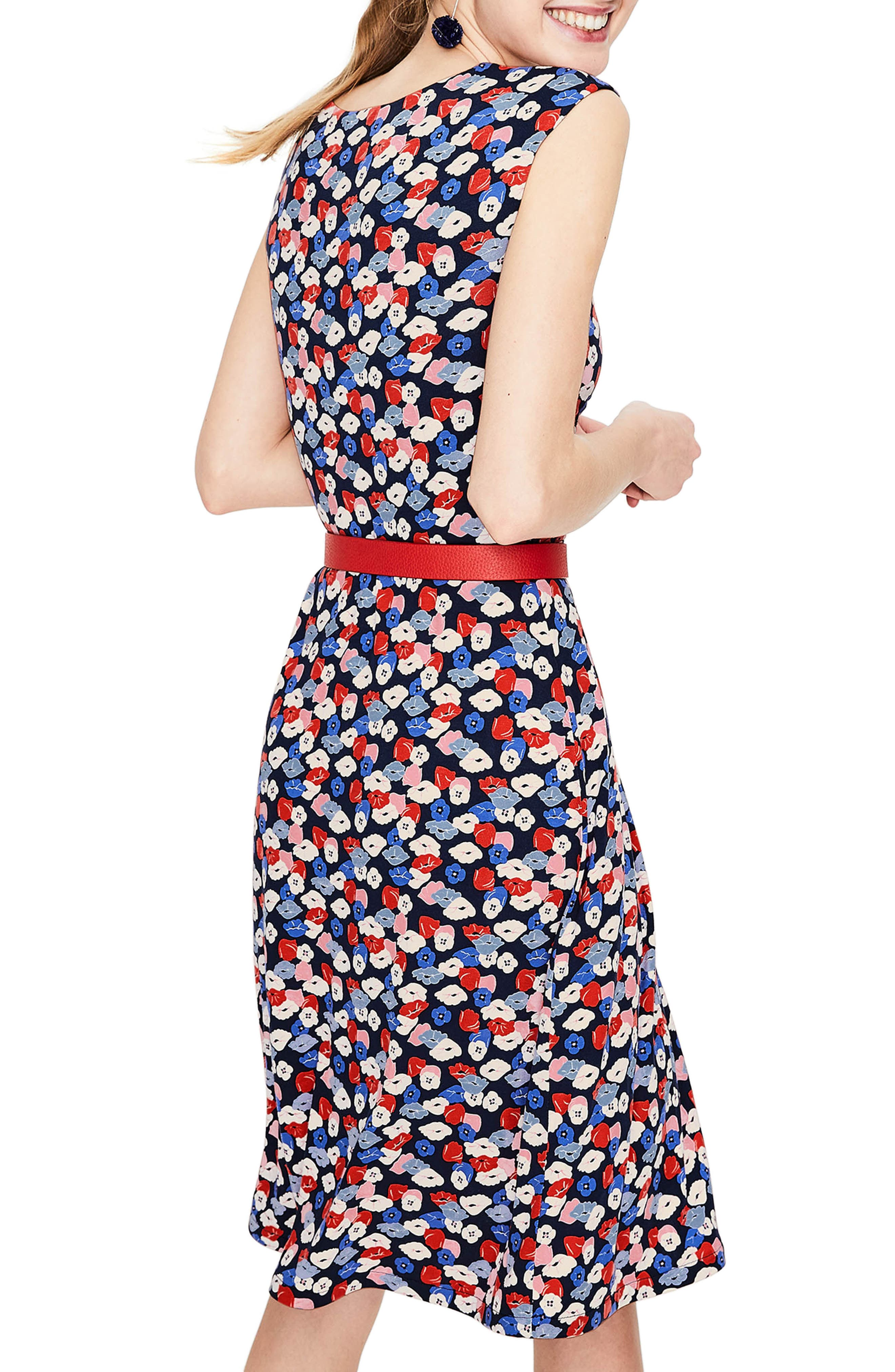 Marina Belted Floral Jersey Dress,                             Alternate thumbnail 2, color,                             Navy Poppy Meadow