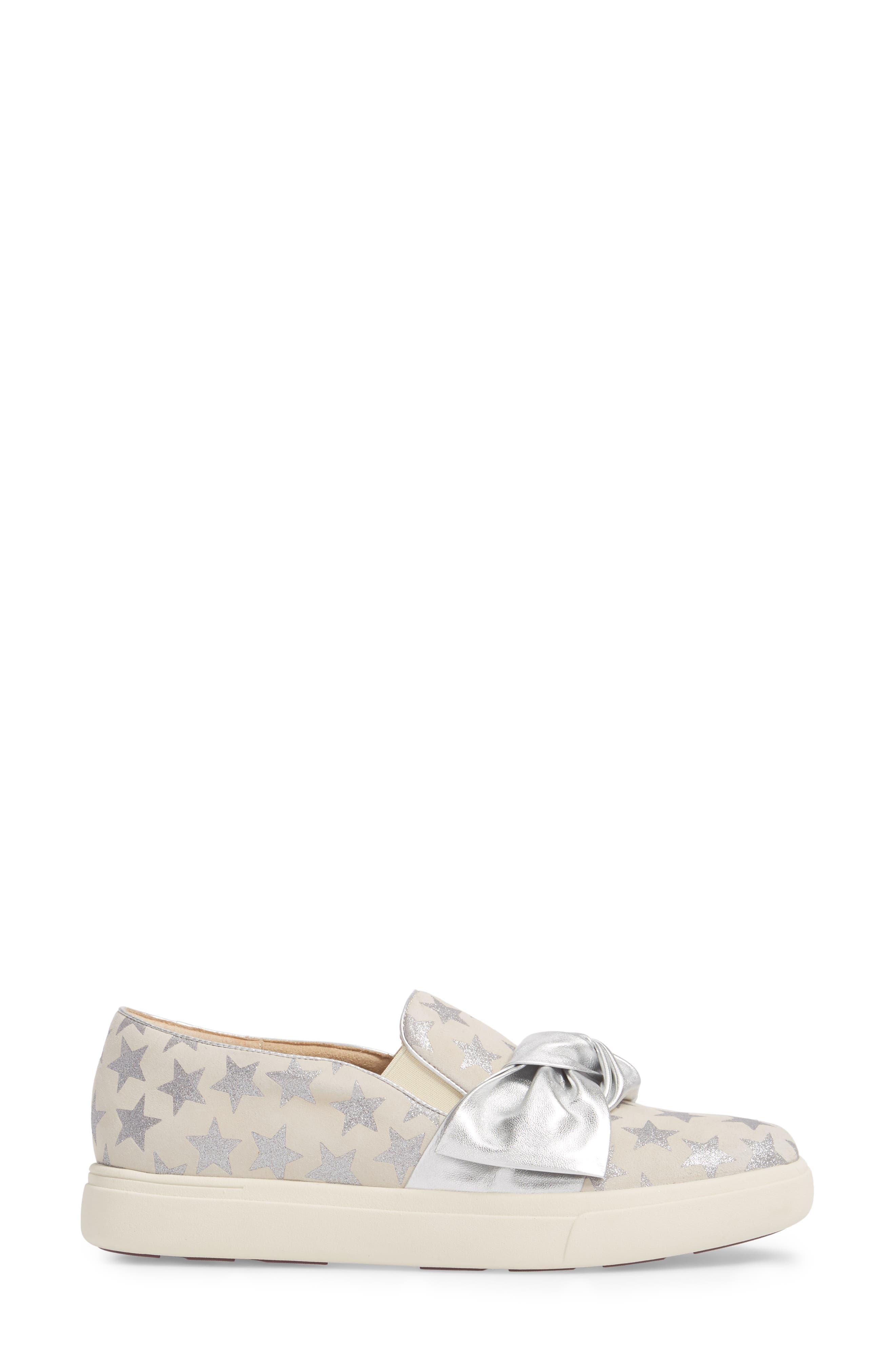 Odelet Slip-On Sneaker,                             Alternate thumbnail 3, color,                             Beige/ Silver Suede