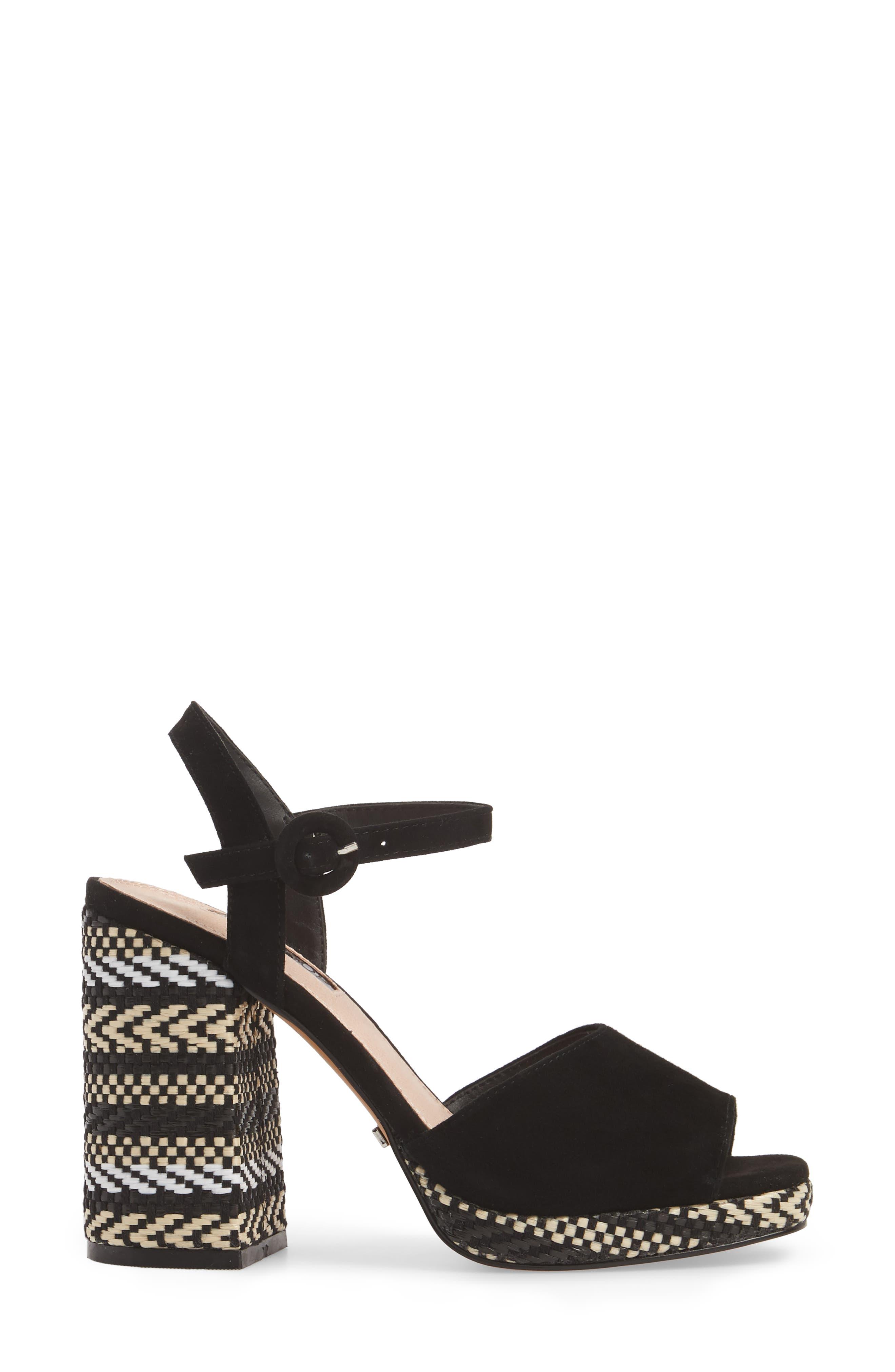 Laura Woven Block Heel Sandal,                             Alternate thumbnail 3, color,                             Black Multi