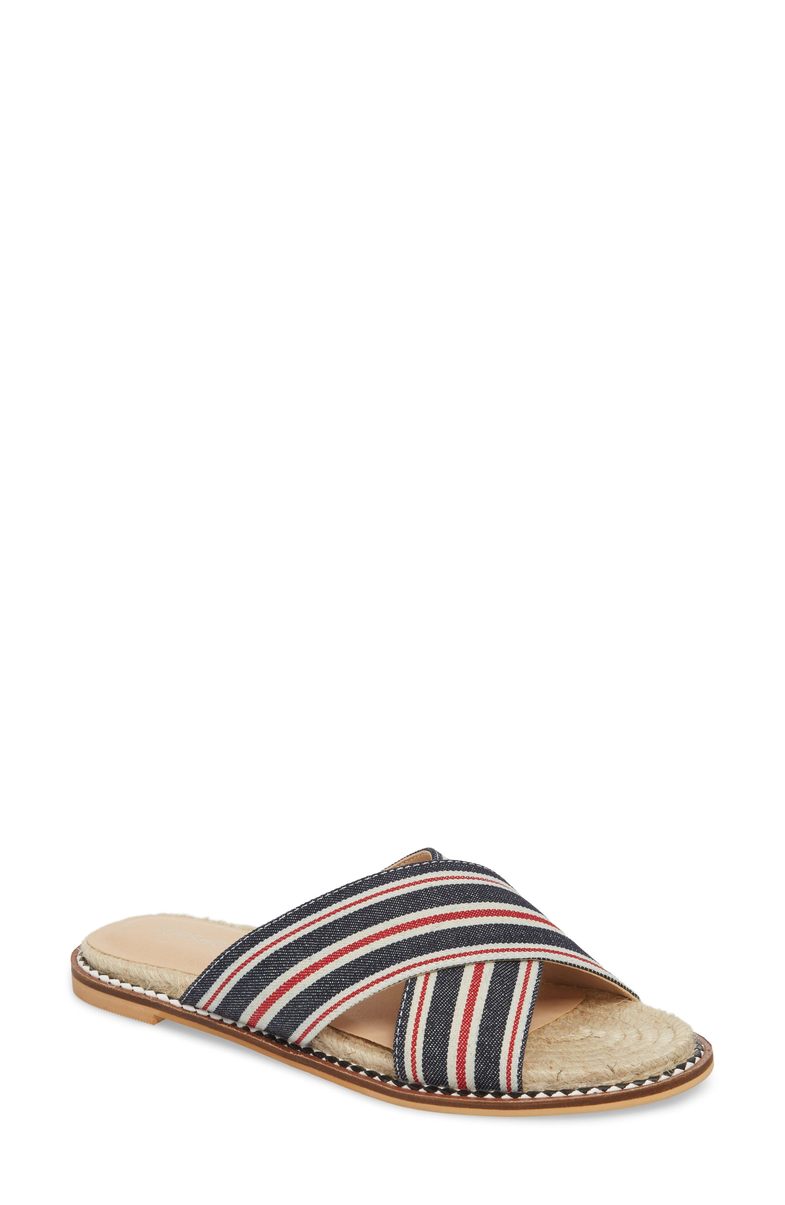 Hibiscus Slide Sandal,                         Main,                         color, Navy Blue Multi