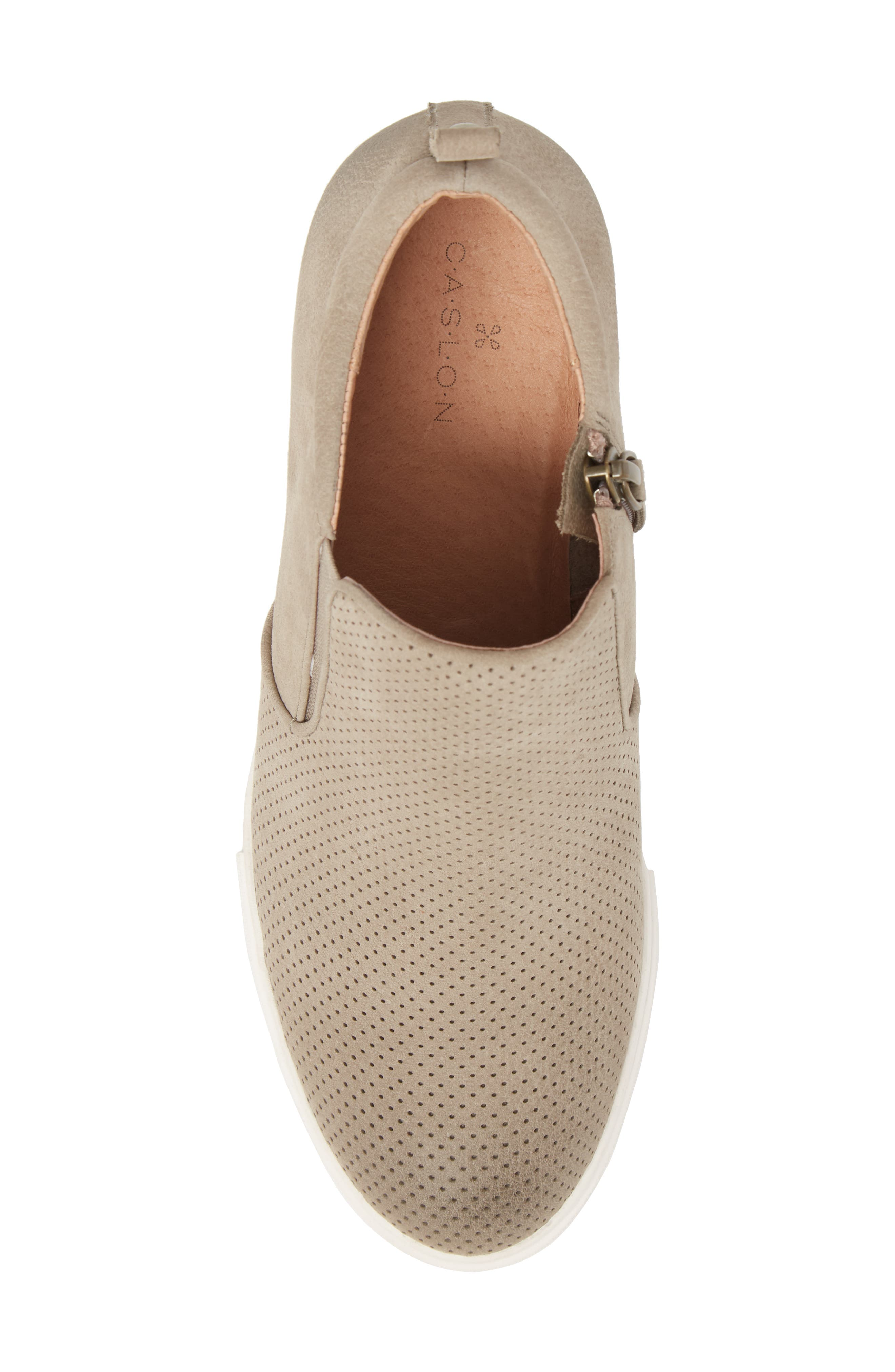 Aiden Wedge Sneaker,                             Alternate thumbnail 5, color,                             Taupe Perforated Leather