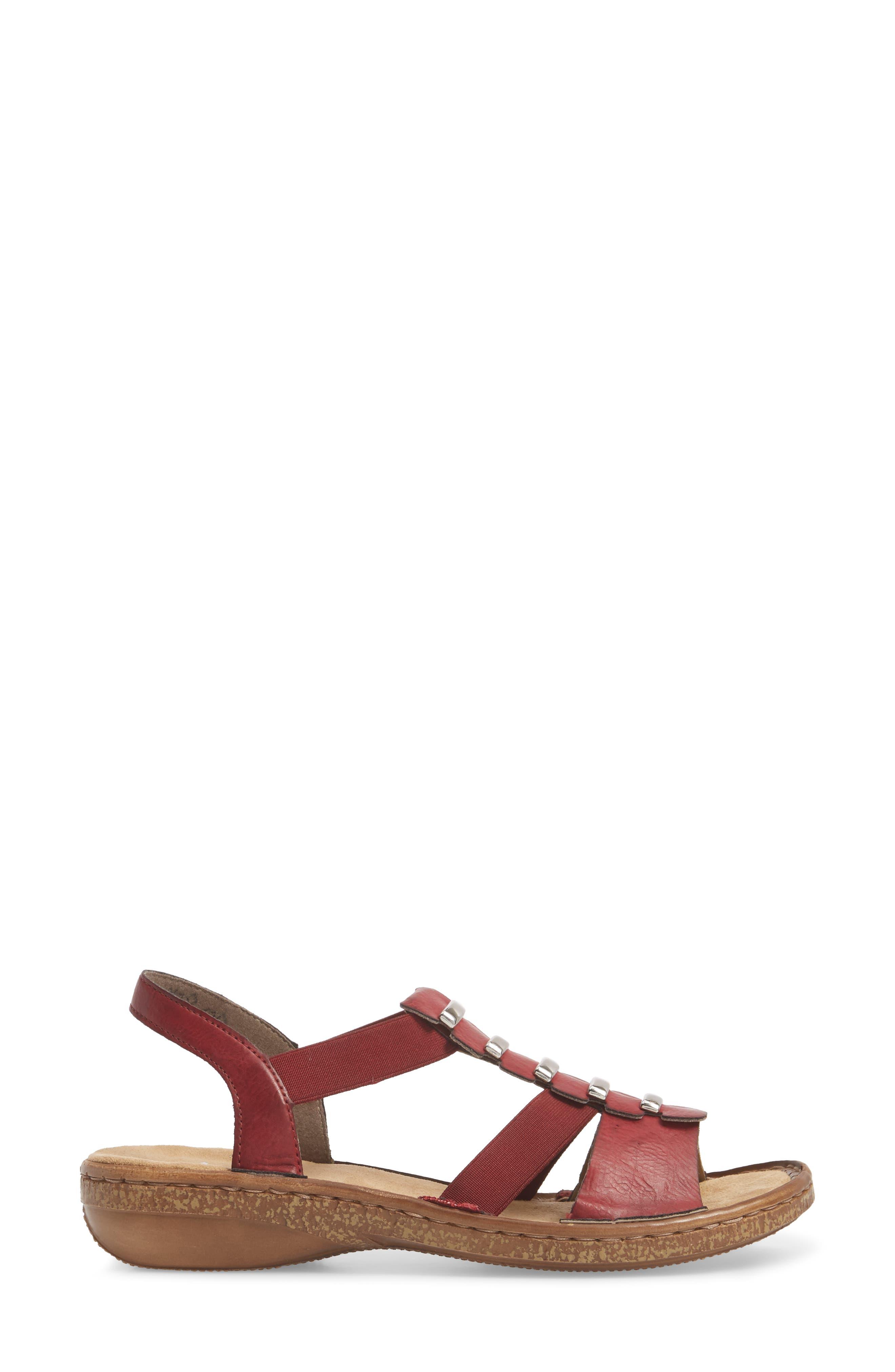 Regina 50 Sandal,                             Alternate thumbnail 3, color,                             Wine