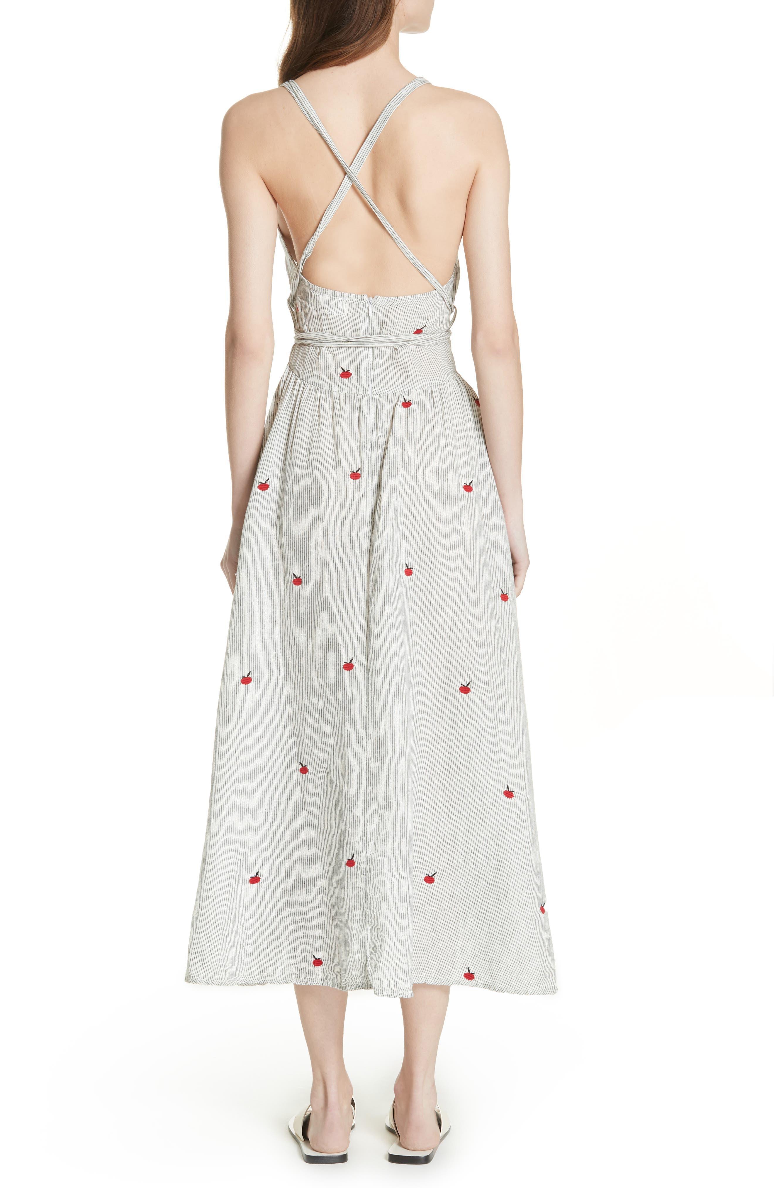 The Apron Dress,                             Alternate thumbnail 2, color,                             Black/ White/ Apple