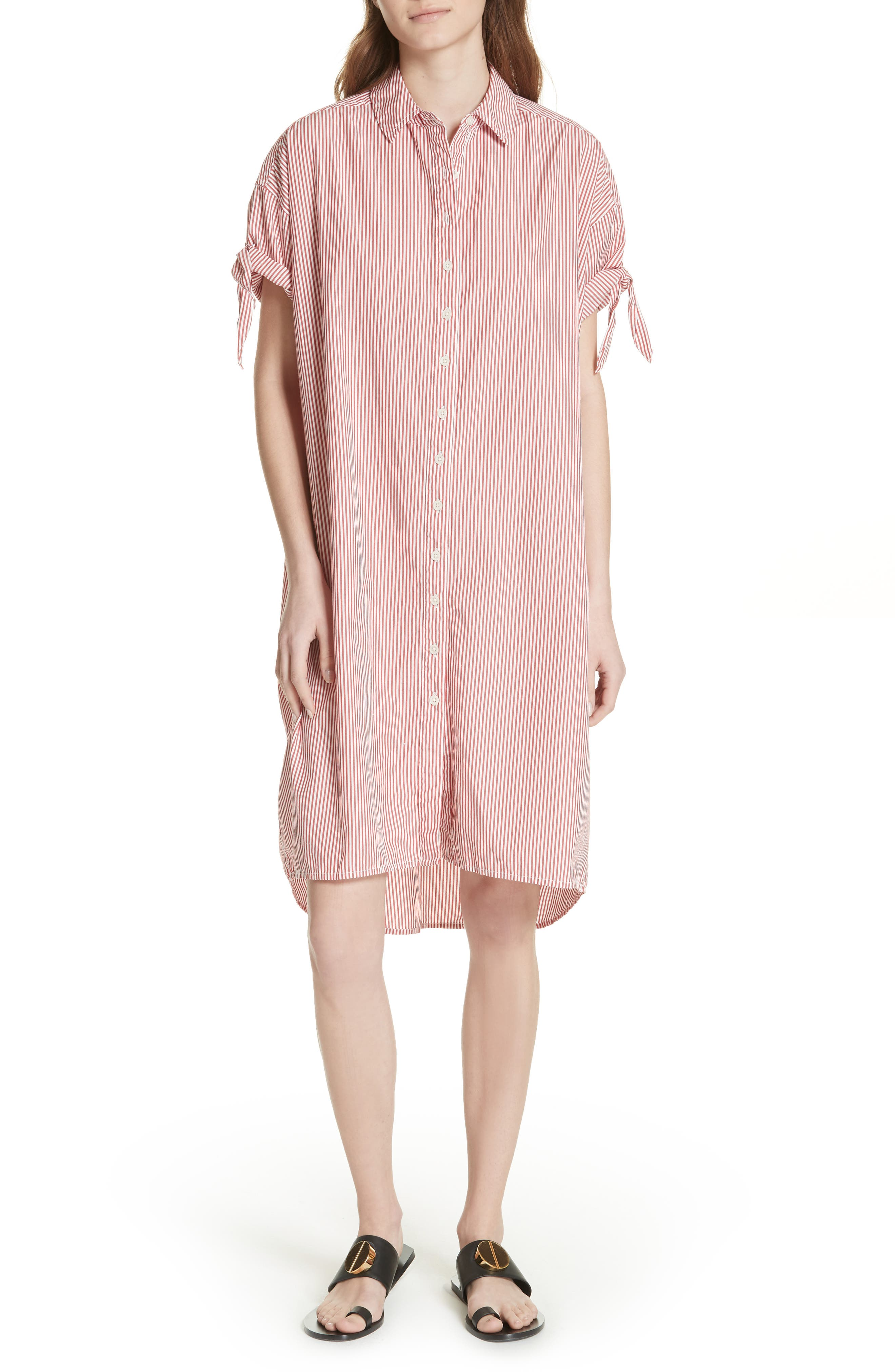 The Tie Sleeve Camper Shirtdress,                             Main thumbnail 1, color,                             Poppy Stripe