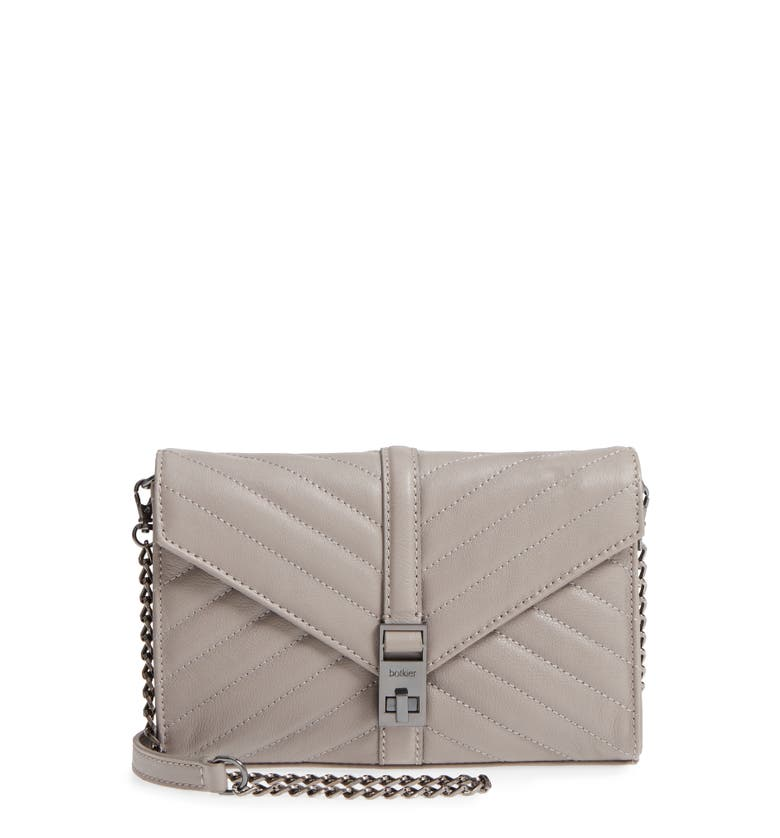 Dakota Quilted Leather Clutch, Main, color, Fog