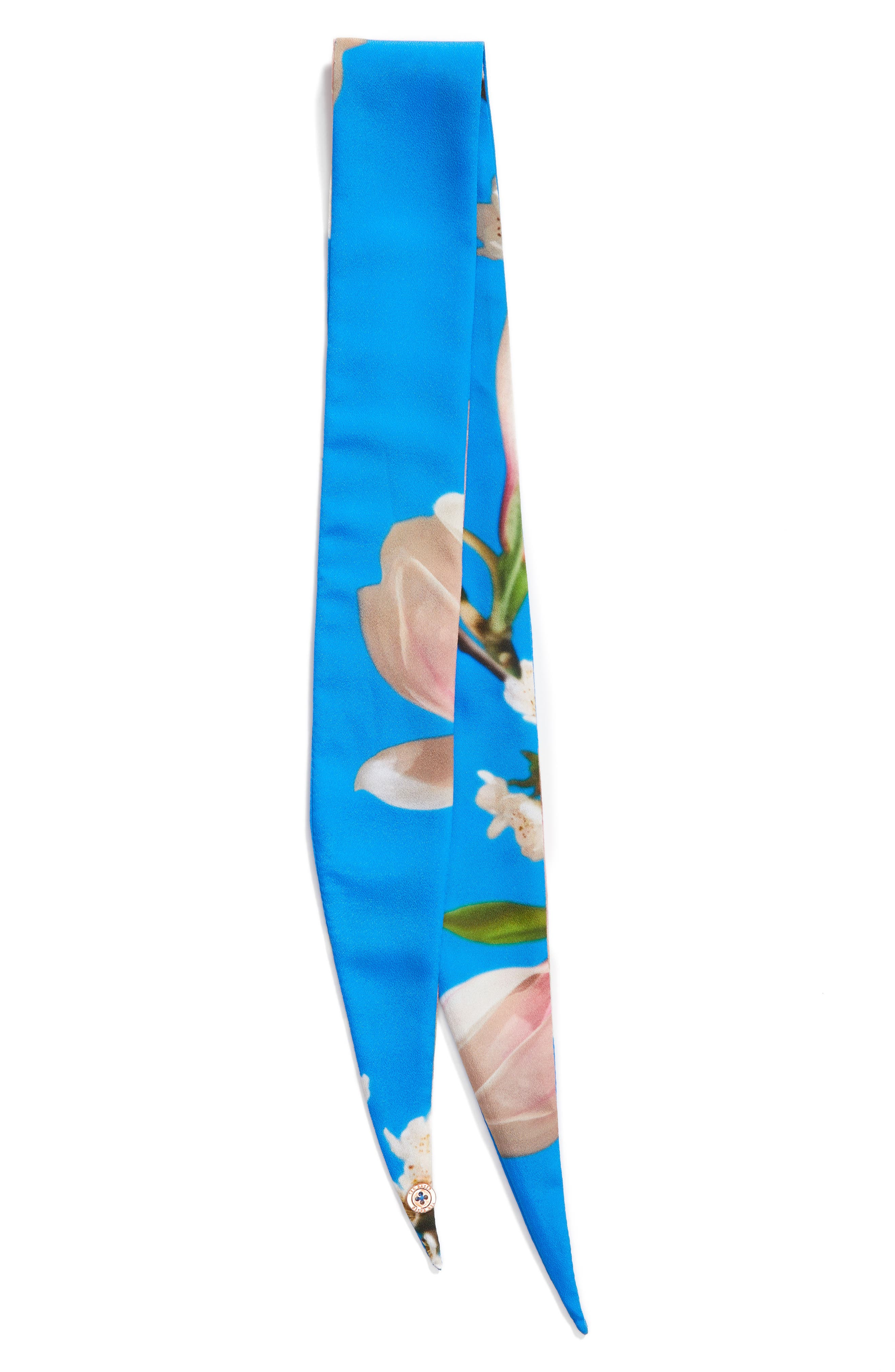 Harmony Floral Print Scarf,                             Alternate thumbnail 3, color,                             Bright Blue
