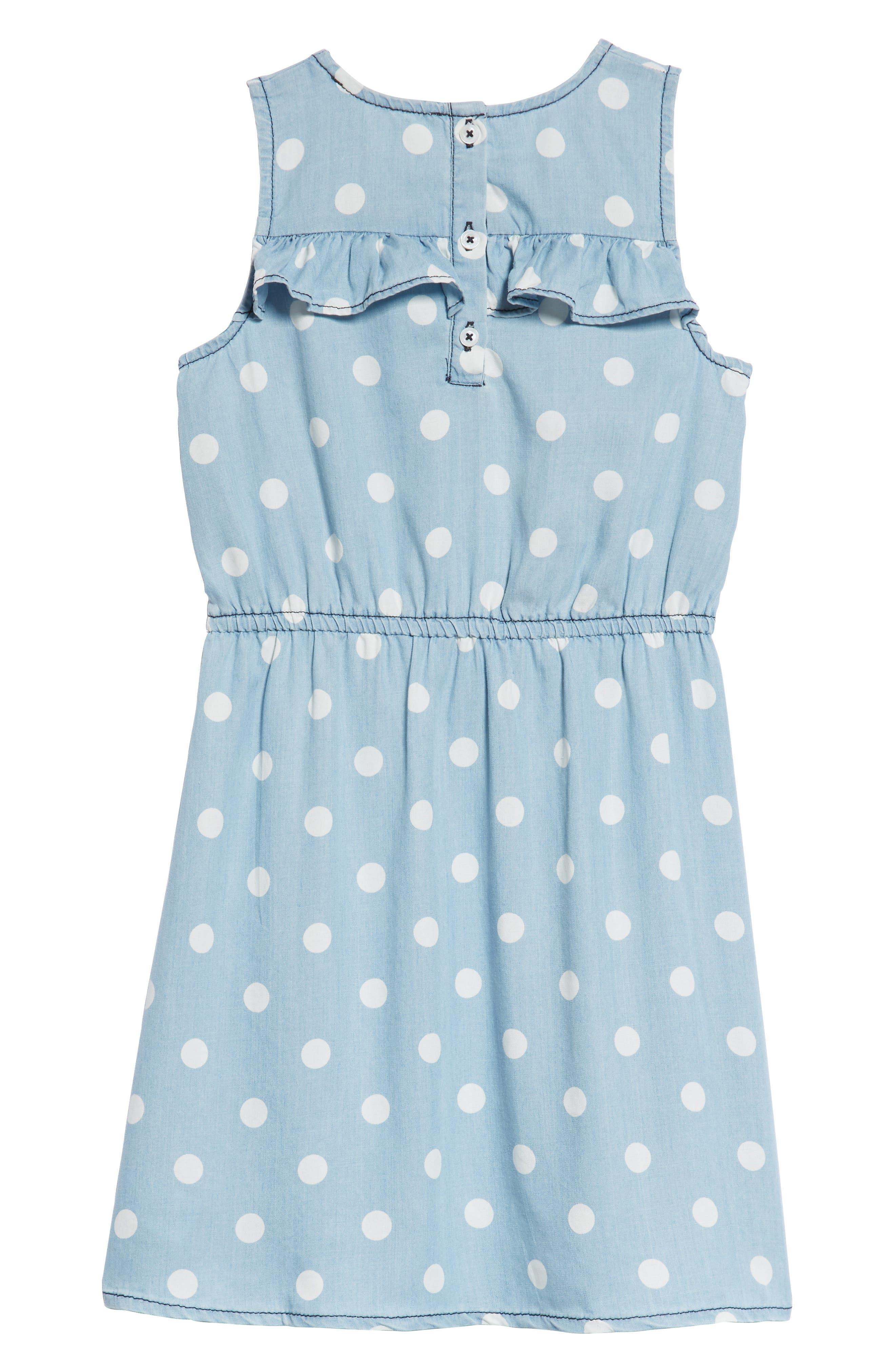 Polka Dot Ruffle Dress,                             Alternate thumbnail 2, color,                             Blue Wash Dot Print