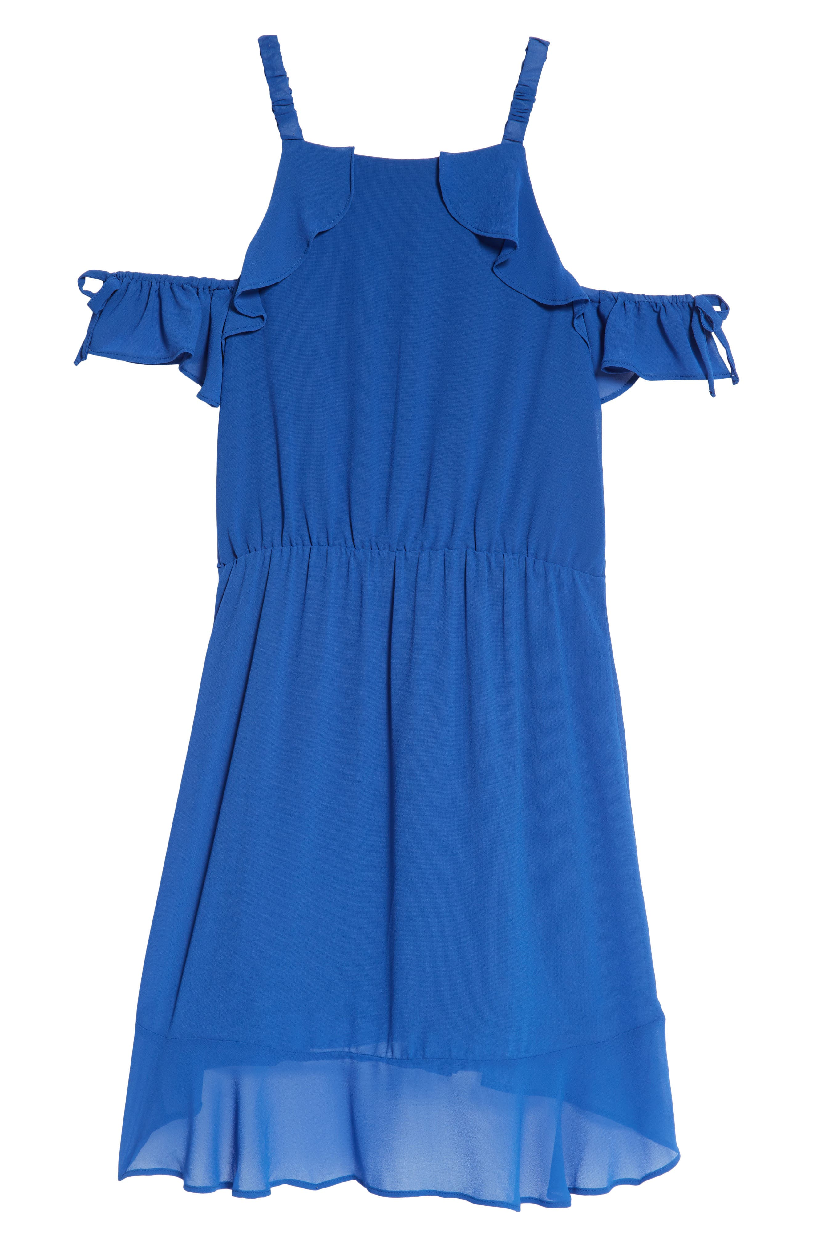 Ruffle Cold Shoulder Dress,                             Alternate thumbnail 2, color,                             Olimpo Blue