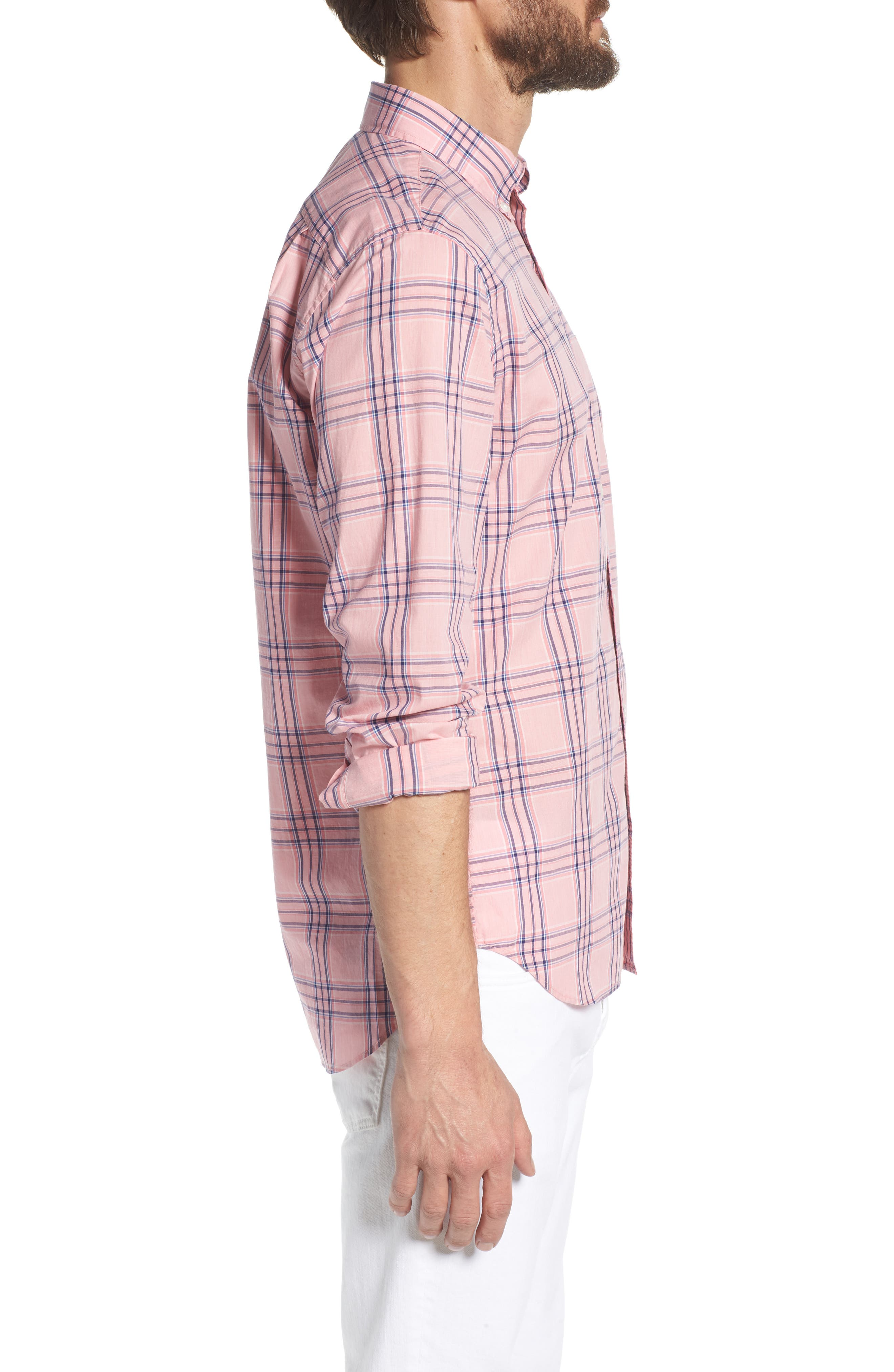Summerweight Slim Fit Check Sport Shirt,                             Alternate thumbnail 4, color,                             Pearson Check - Peony Coral