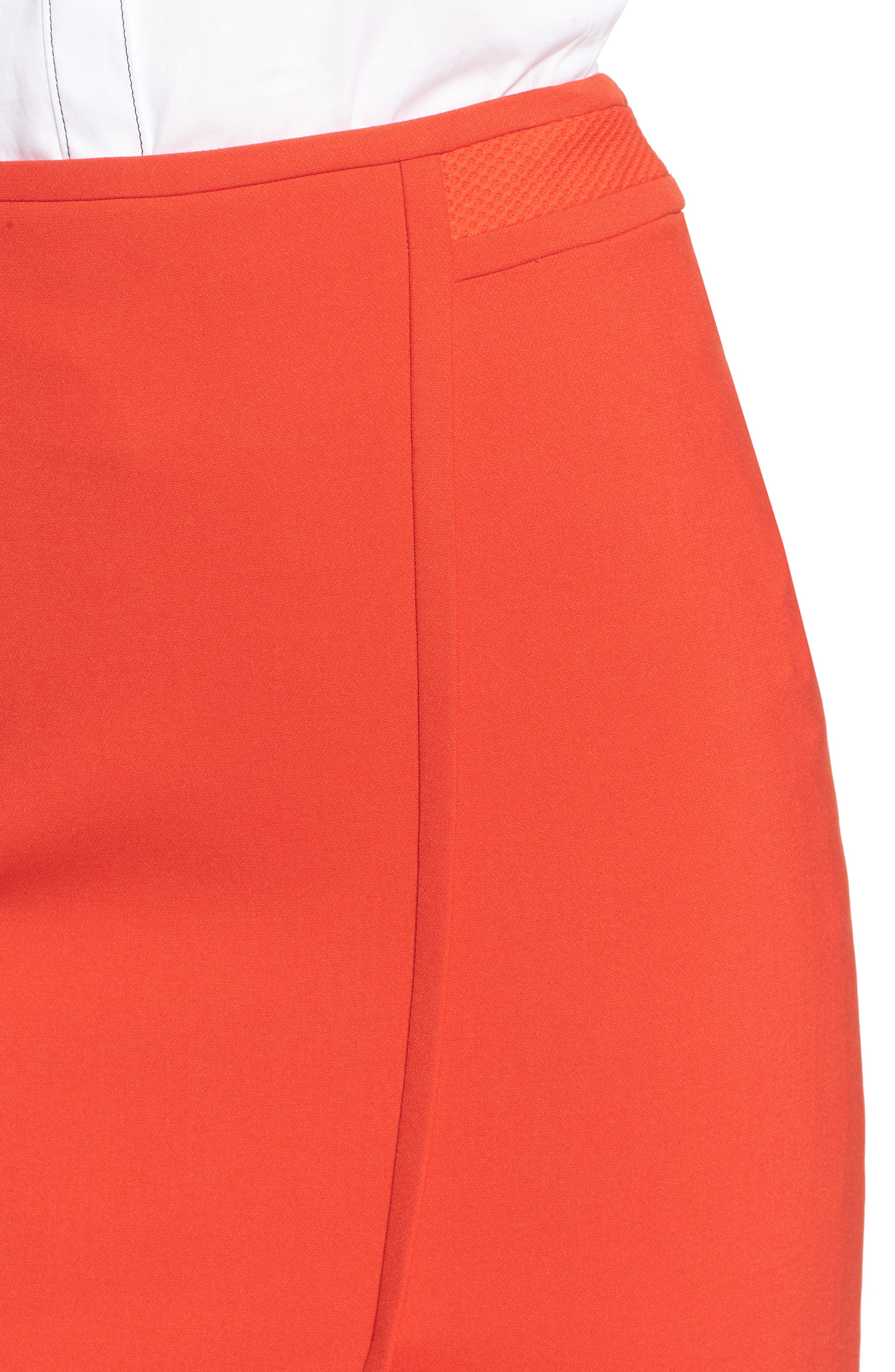 Vadama Ponte Pencil Skirt,                             Alternate thumbnail 4, color,                             Sunset Orange