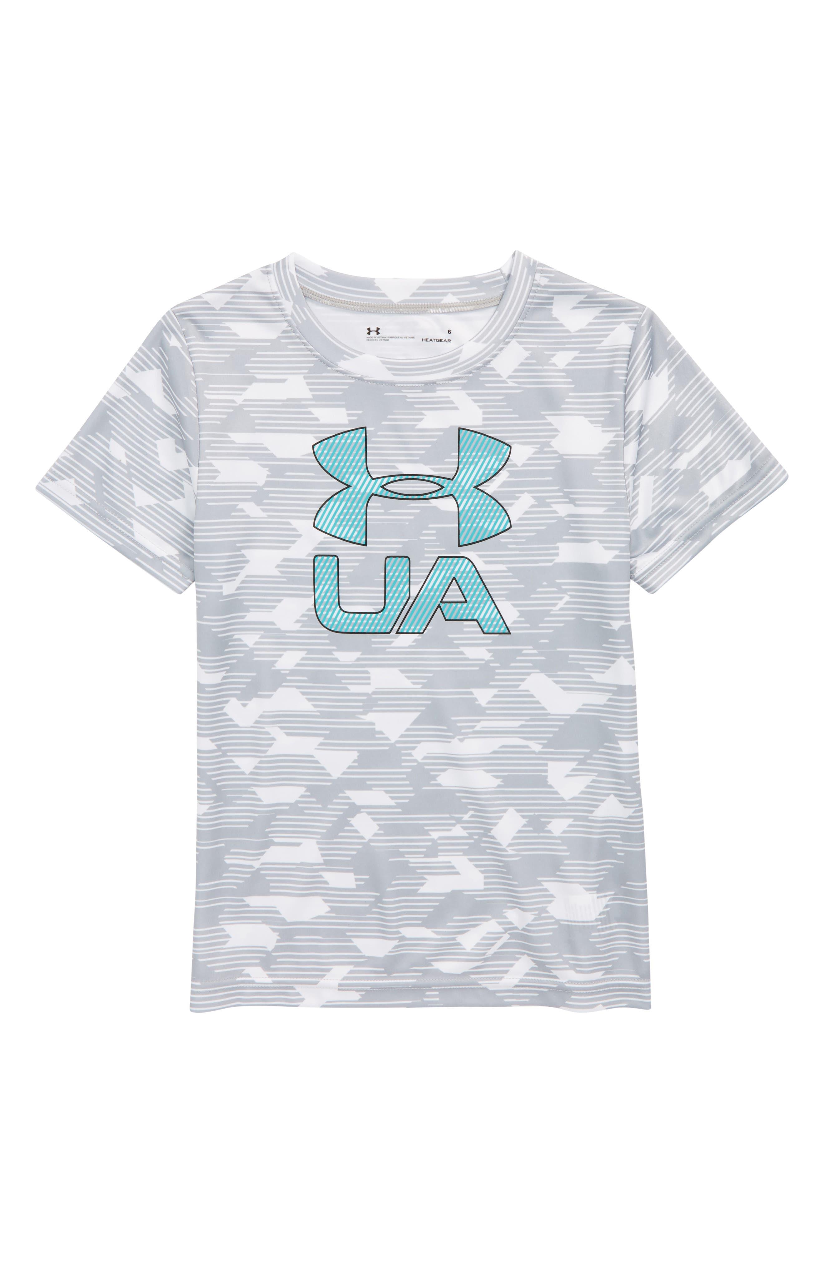Edge Logo HeatGear<sup>®</sup> T-Shirt,                             Main thumbnail 1, color,                             Overcast Gray