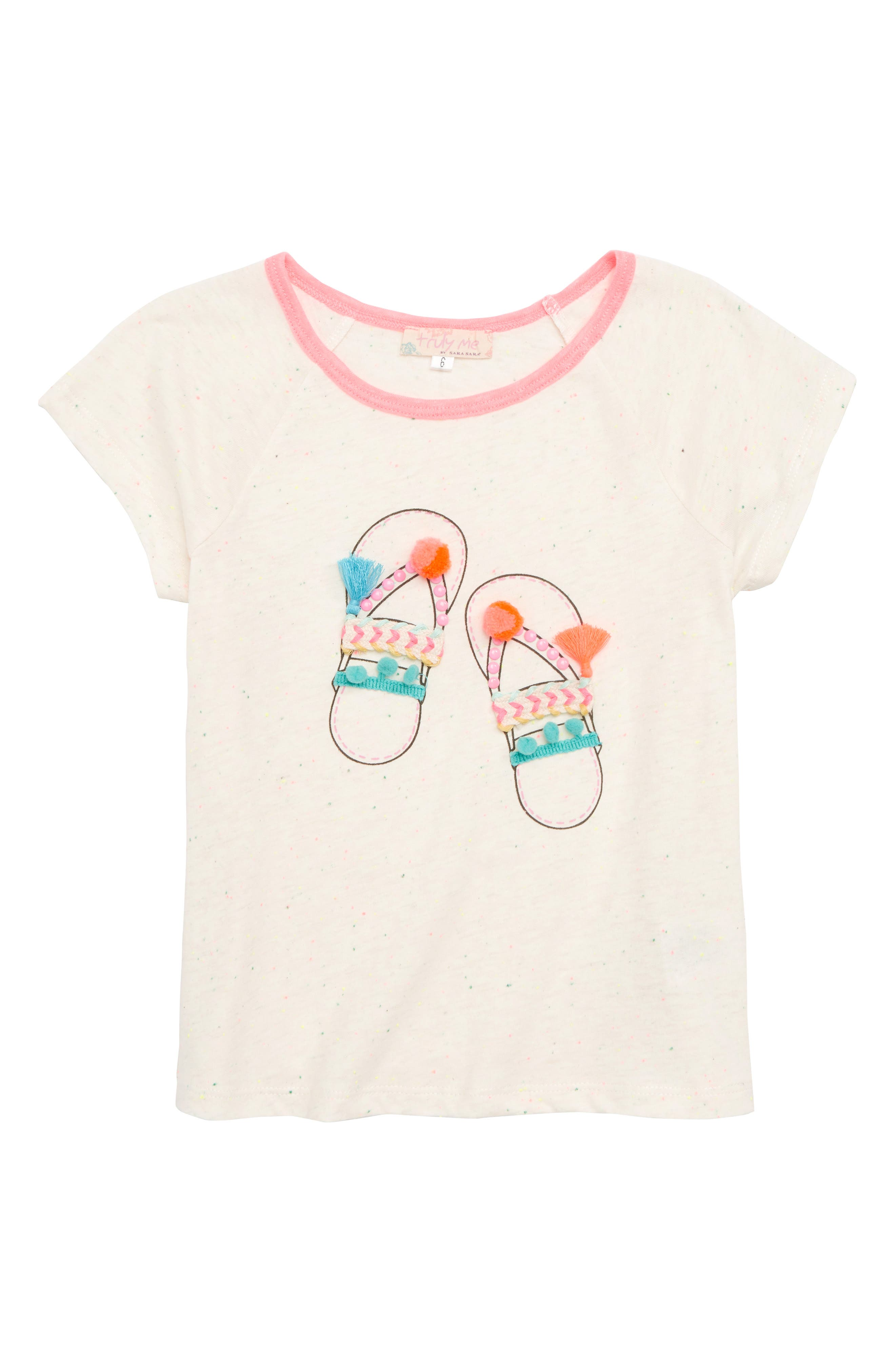 Main Image - Truly Me Sandals Embellished Tee (Toddler Girls & Little Girls)