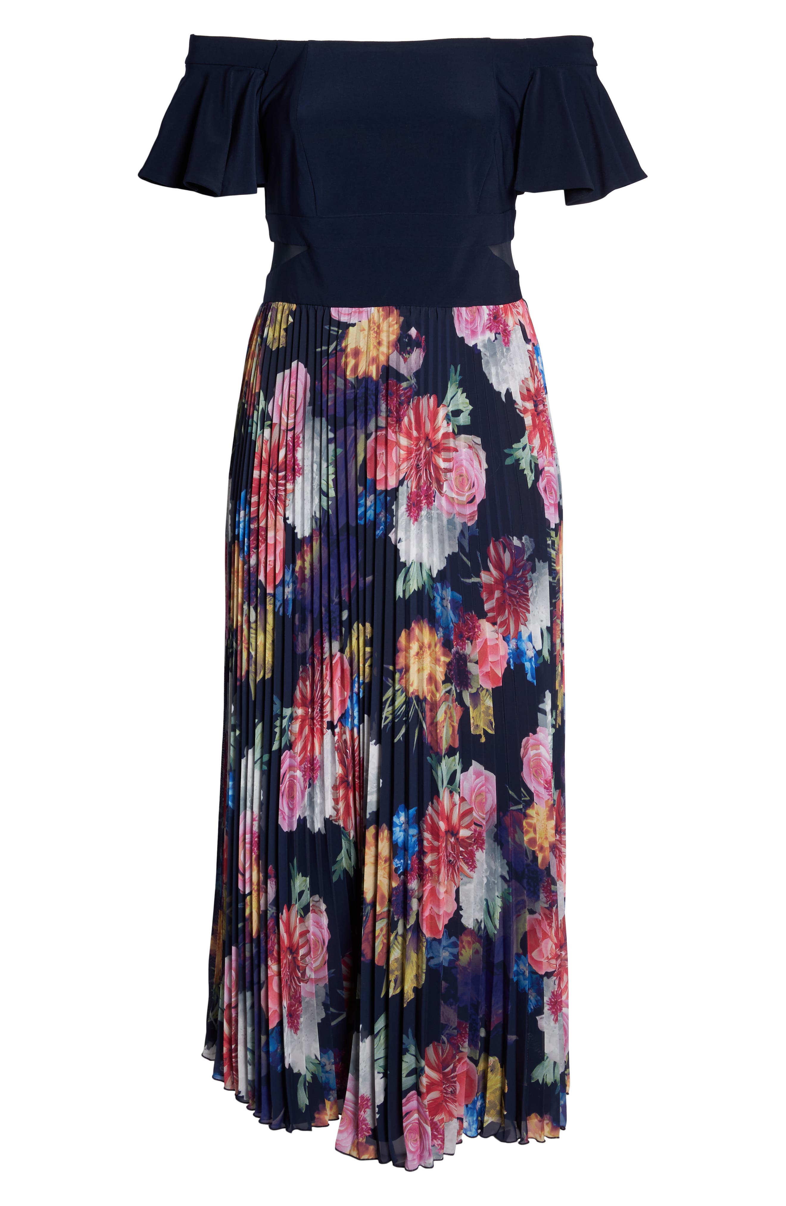 Ruffle Sleeve Off The Shoulder Pleated Maxi Dress,                             Alternate thumbnail 6, color,                             Navy/ Pink