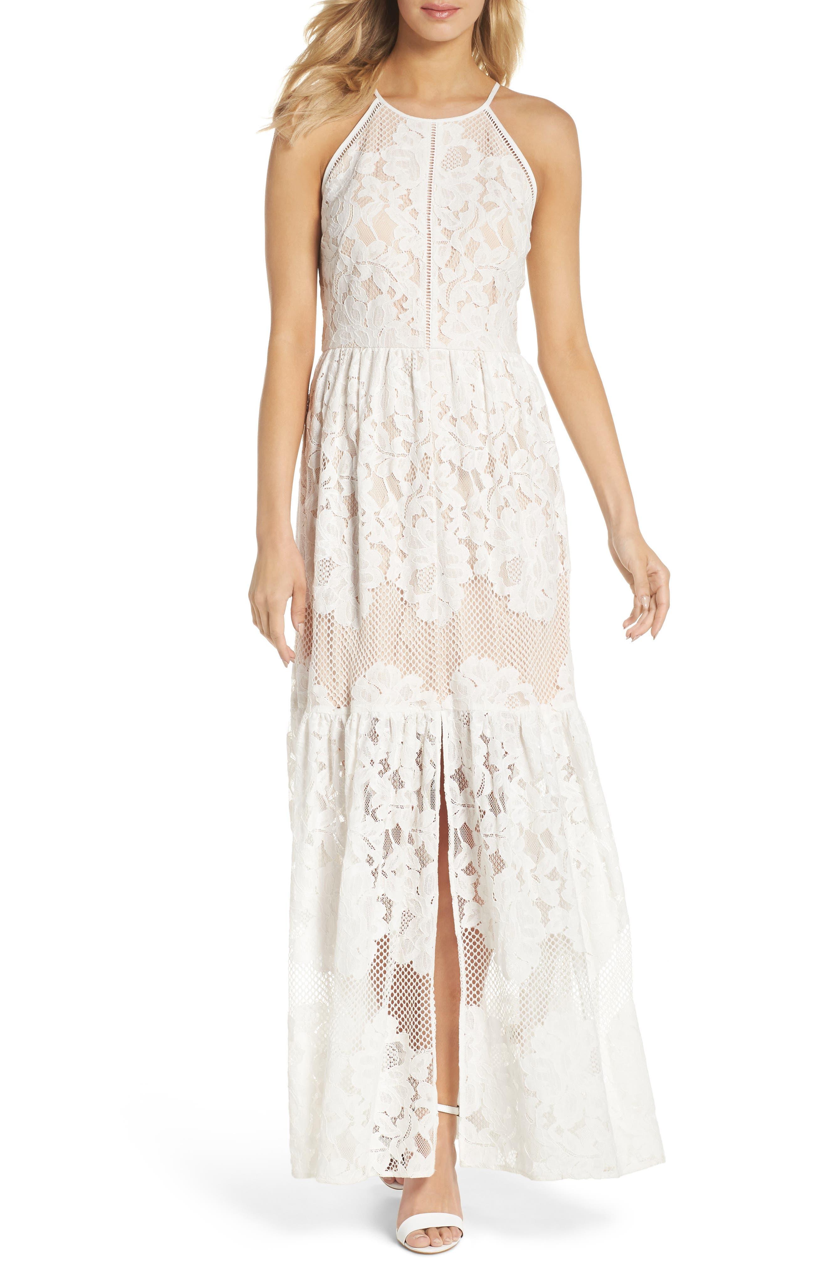 Front Slit Lace Maxi Dress,                             Main thumbnail 1, color,                             Ivory