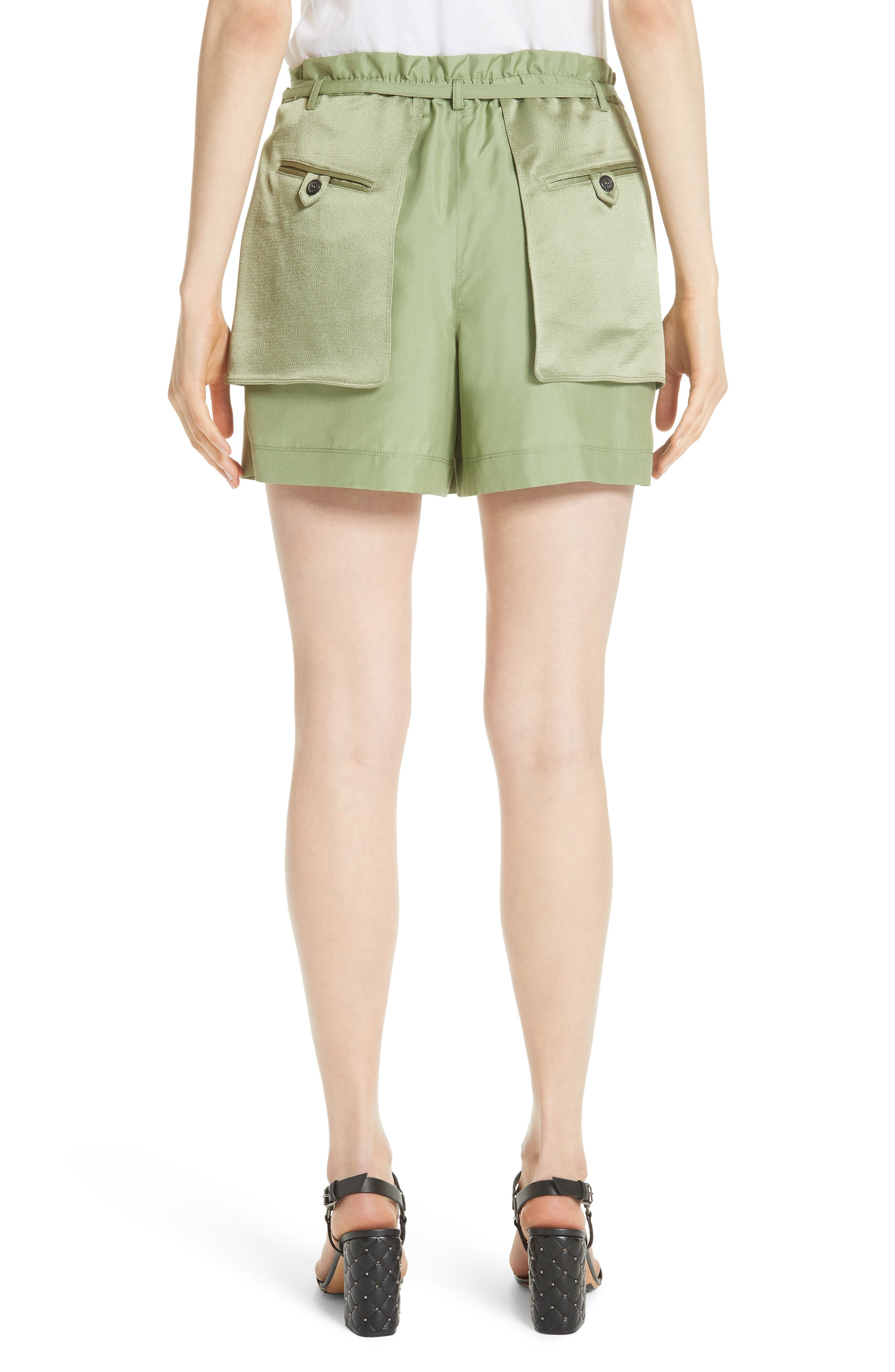 Satin Pocket Shorts,                             Alternate thumbnail 2, color,                             Green