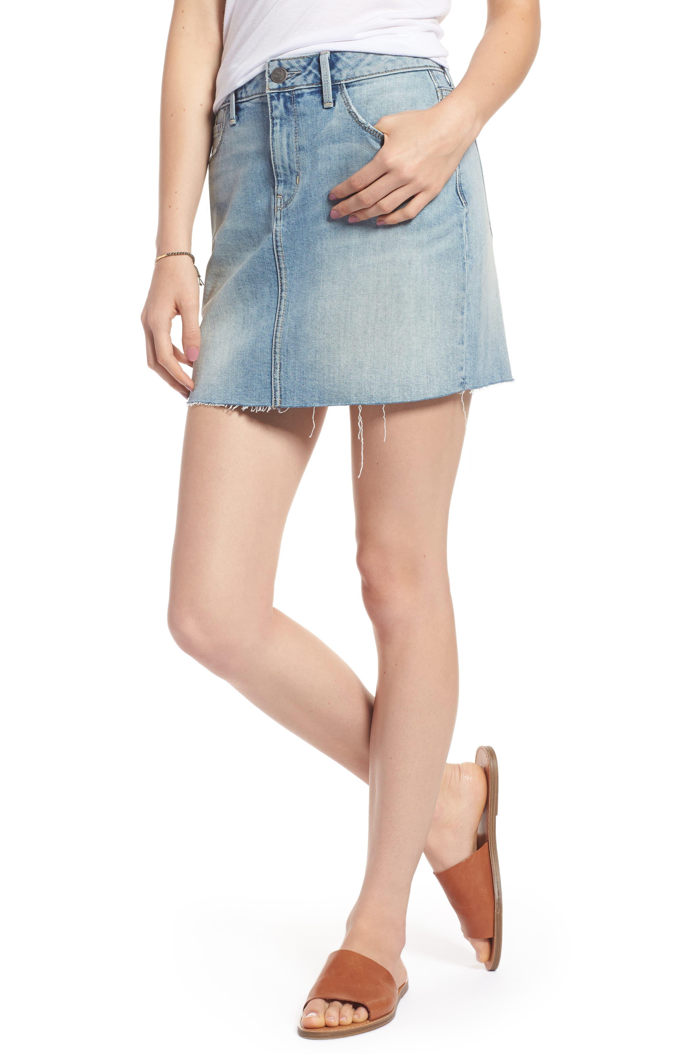 Denim Miniskirt,                             Main thumbnail 1, color,                             Gravel Light Vintage