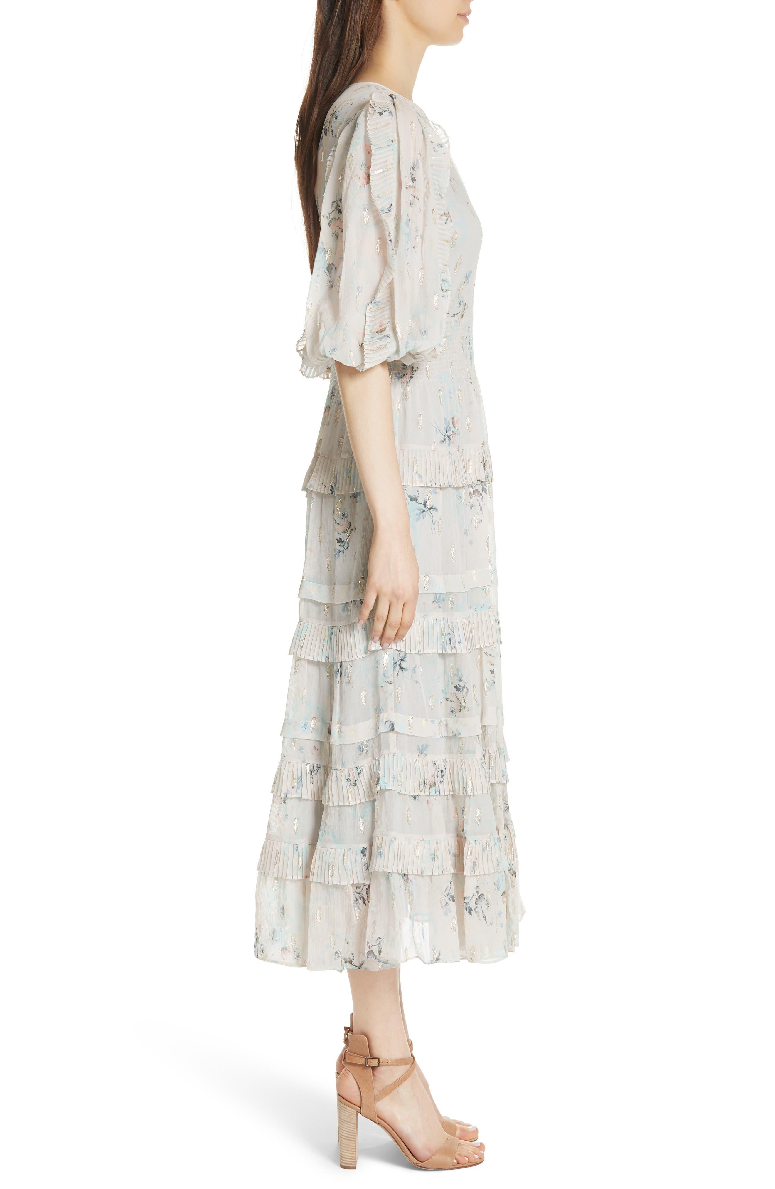 Metallic Faded Floral Midi Dress,                             Alternate thumbnail 3, color,                             Stone