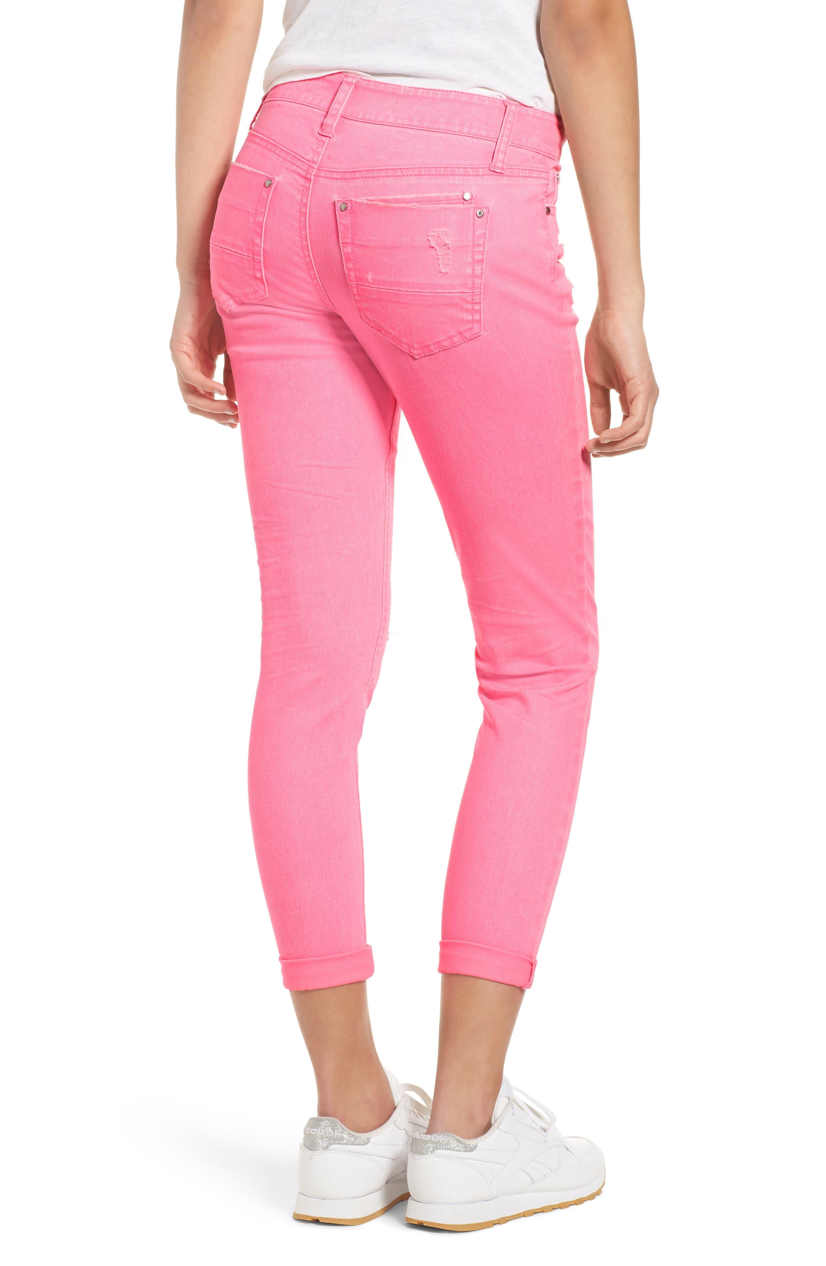 Alternate Image 2  - Tinsel Distressed Roll Cuff Skinny Jeans