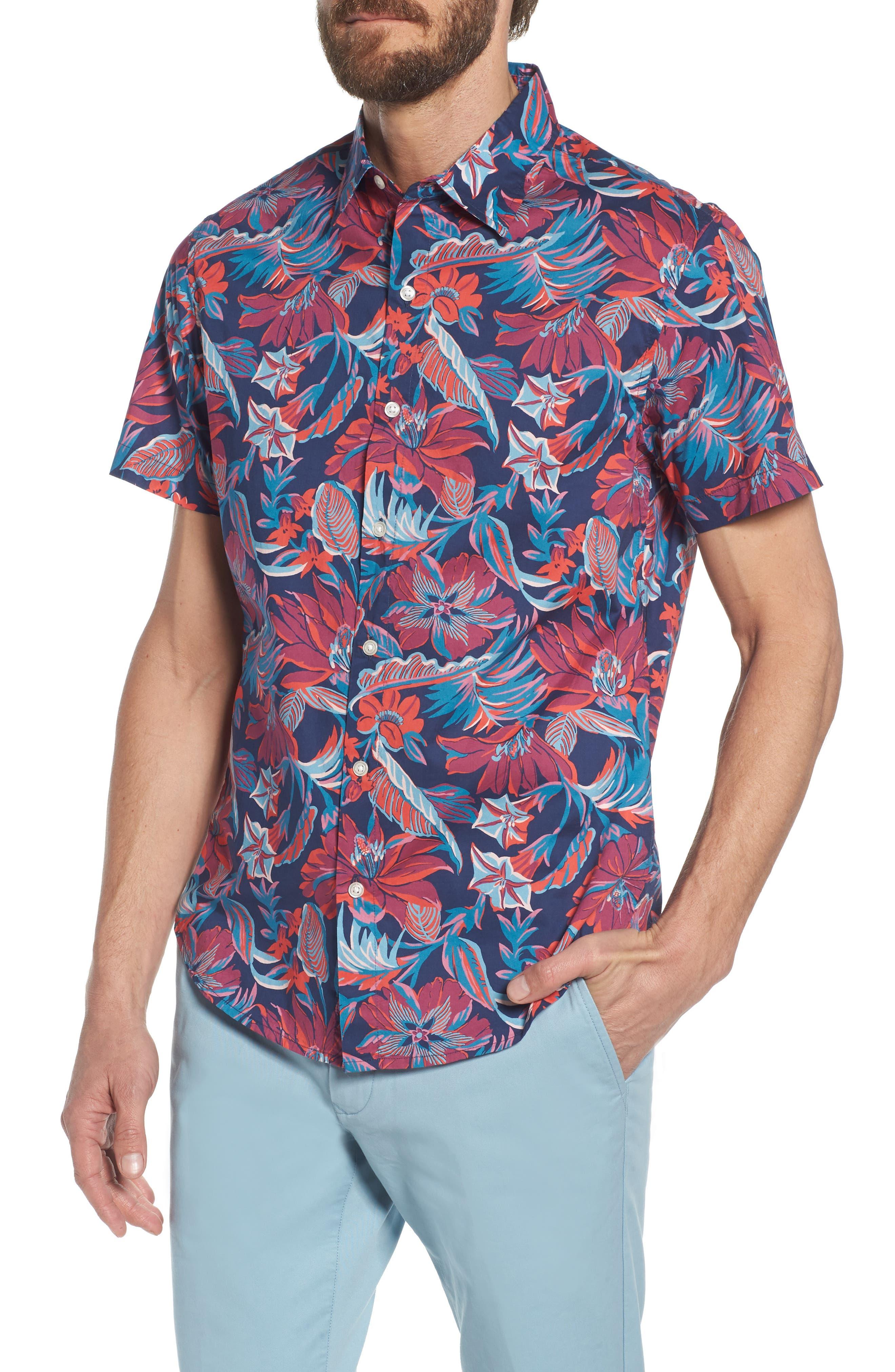 Slim Fit Print Sport Shirt,                             Main thumbnail 1, color,                             Pavilion Floral - Deep Pacific