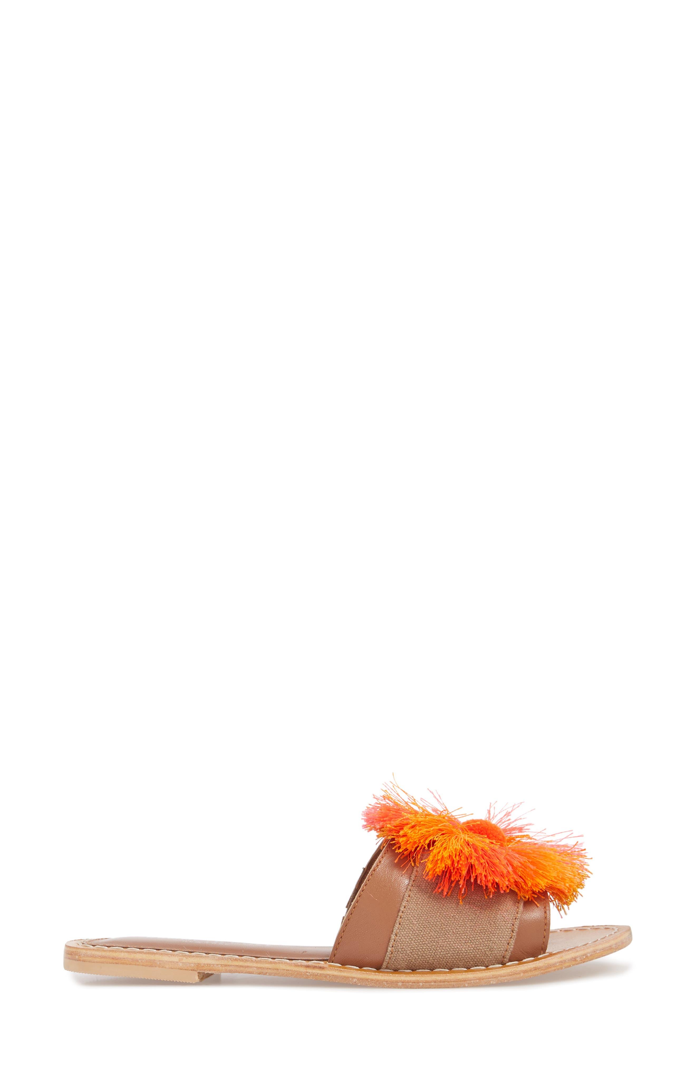 Orton Slide Sandal,                             Alternate thumbnail 3, color,                             Orange Multi Fabric