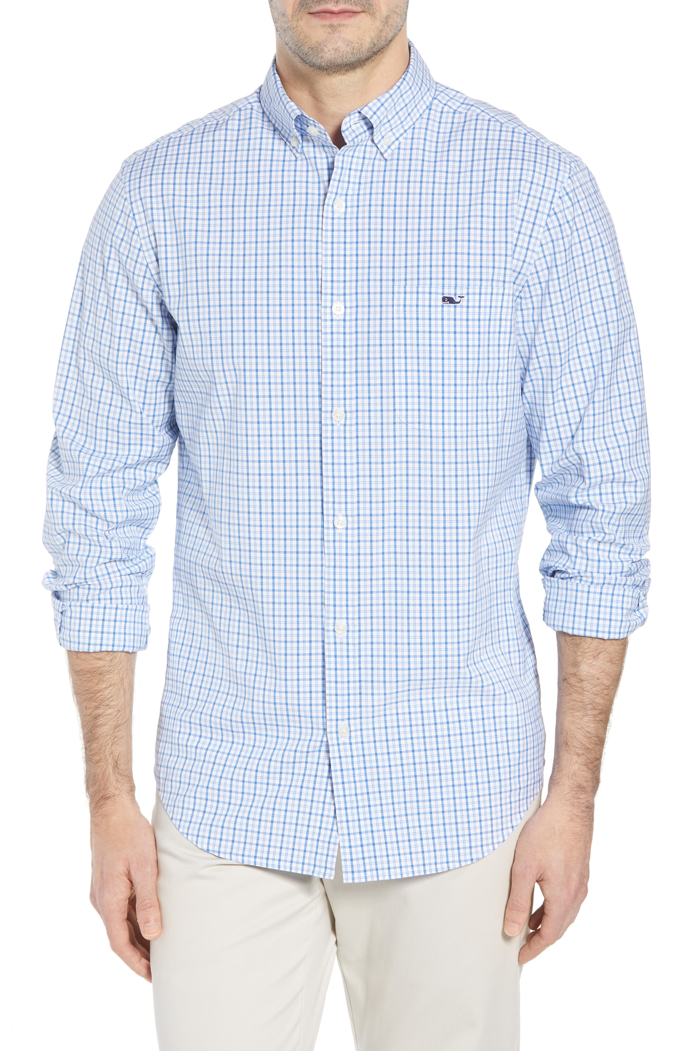 Clark Cove Tucker Classic Fit Check Sport Shirt,                         Main,                         color, Jake Blue