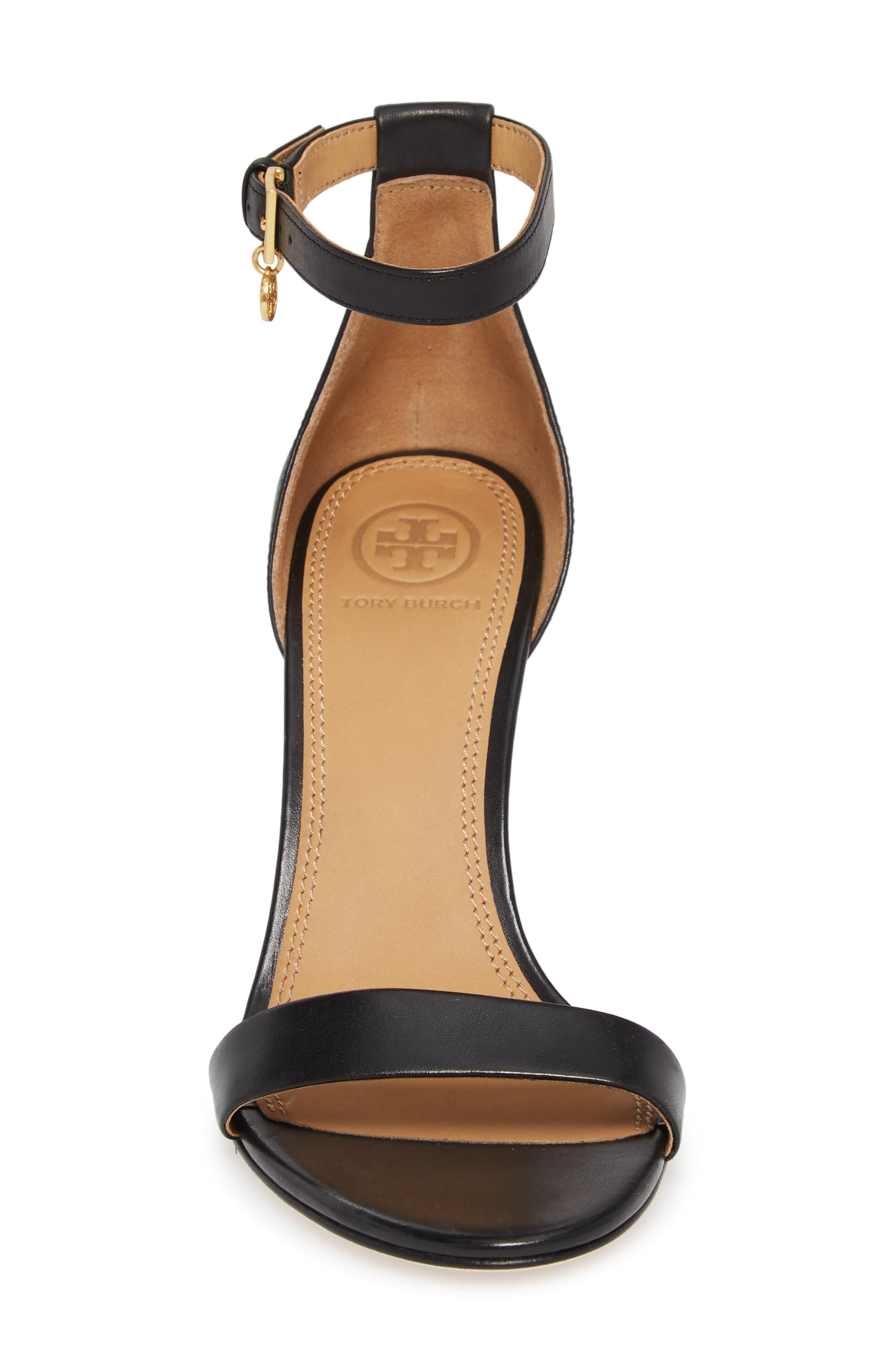 Ellie Ankle Strap Sandal,                             Alternate thumbnail 4, color,                             Black Leather