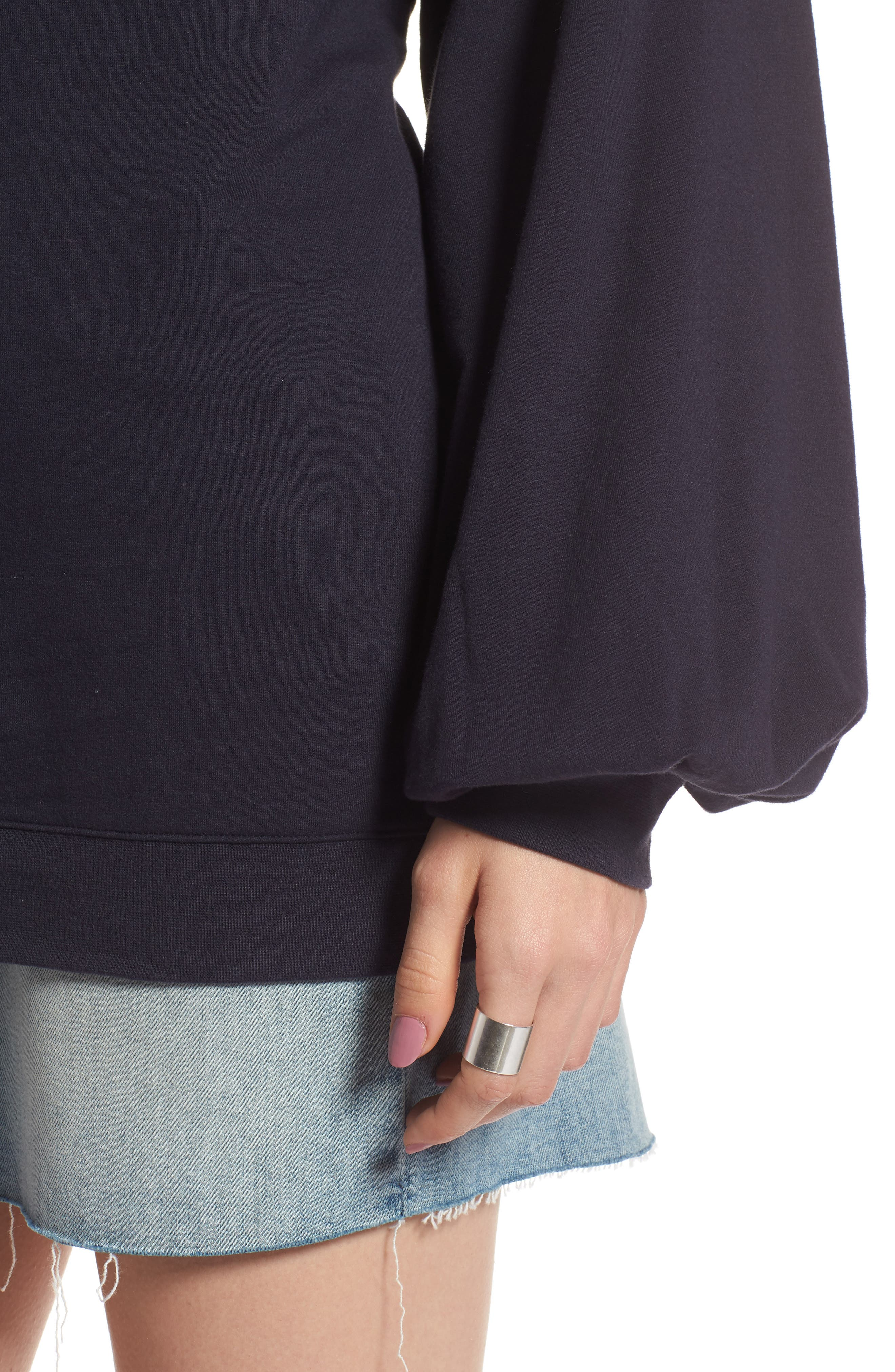 Puff Sleeve Off the Shoulder Top,                             Alternate thumbnail 4, color,                             Navy Night