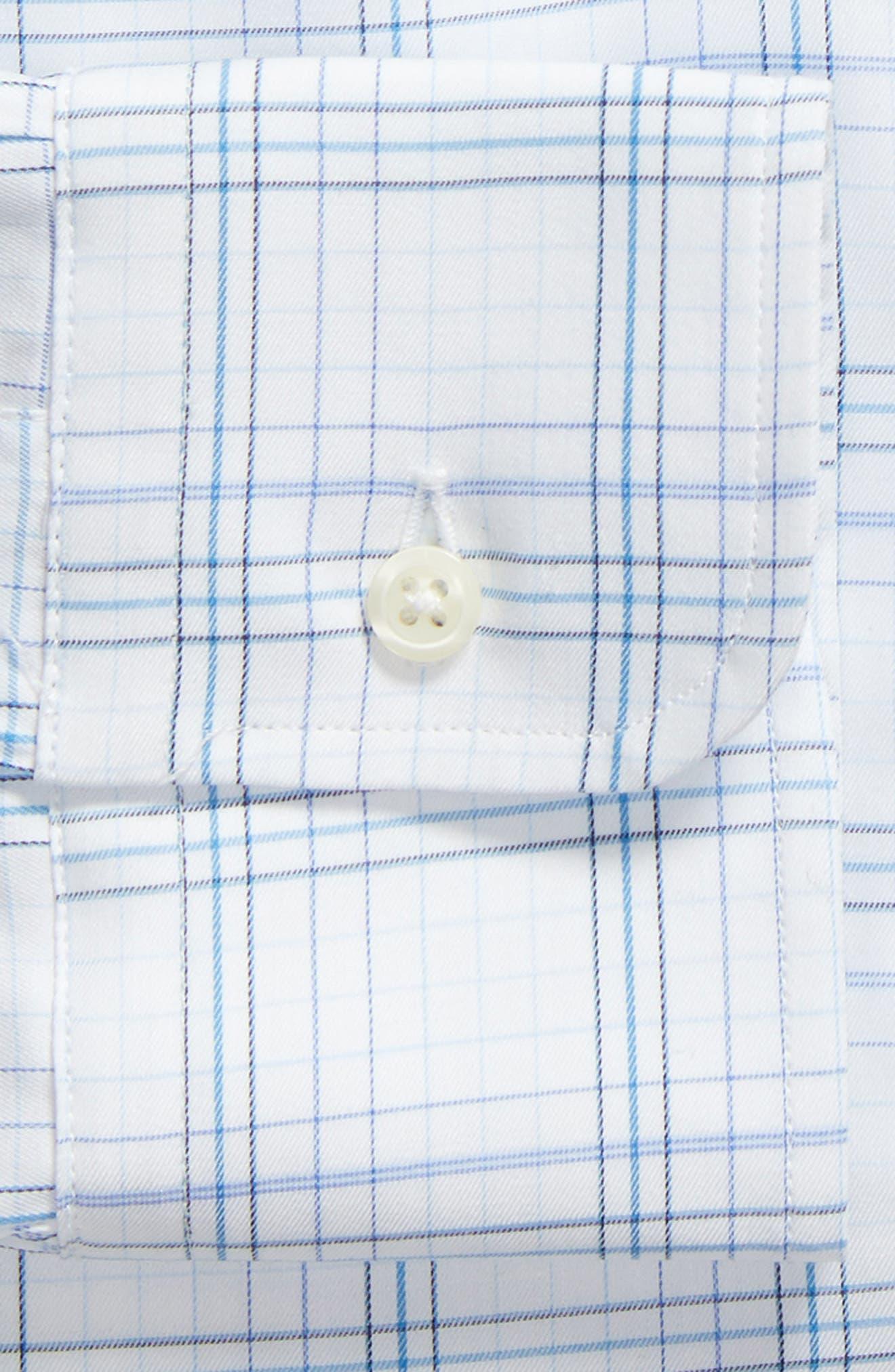 Tailored Fit Plaid Dress Shirt,                             Alternate thumbnail 5, color,                             Blue