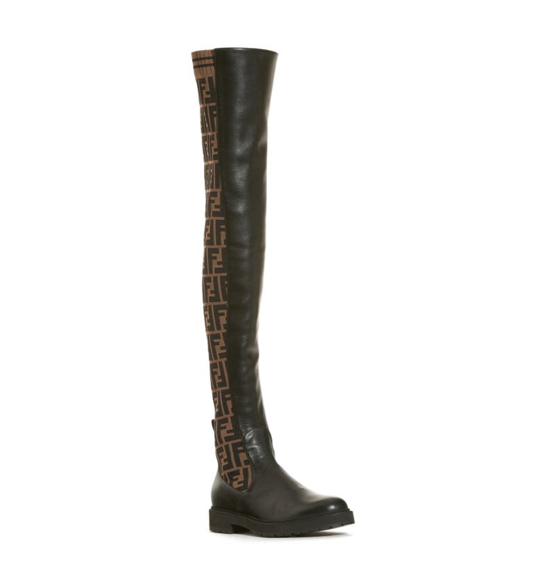 cd2cb4134a9 Fendi Logo-Jacquard Stretch-Knit And Leather Over-The-Knee Boots In ...