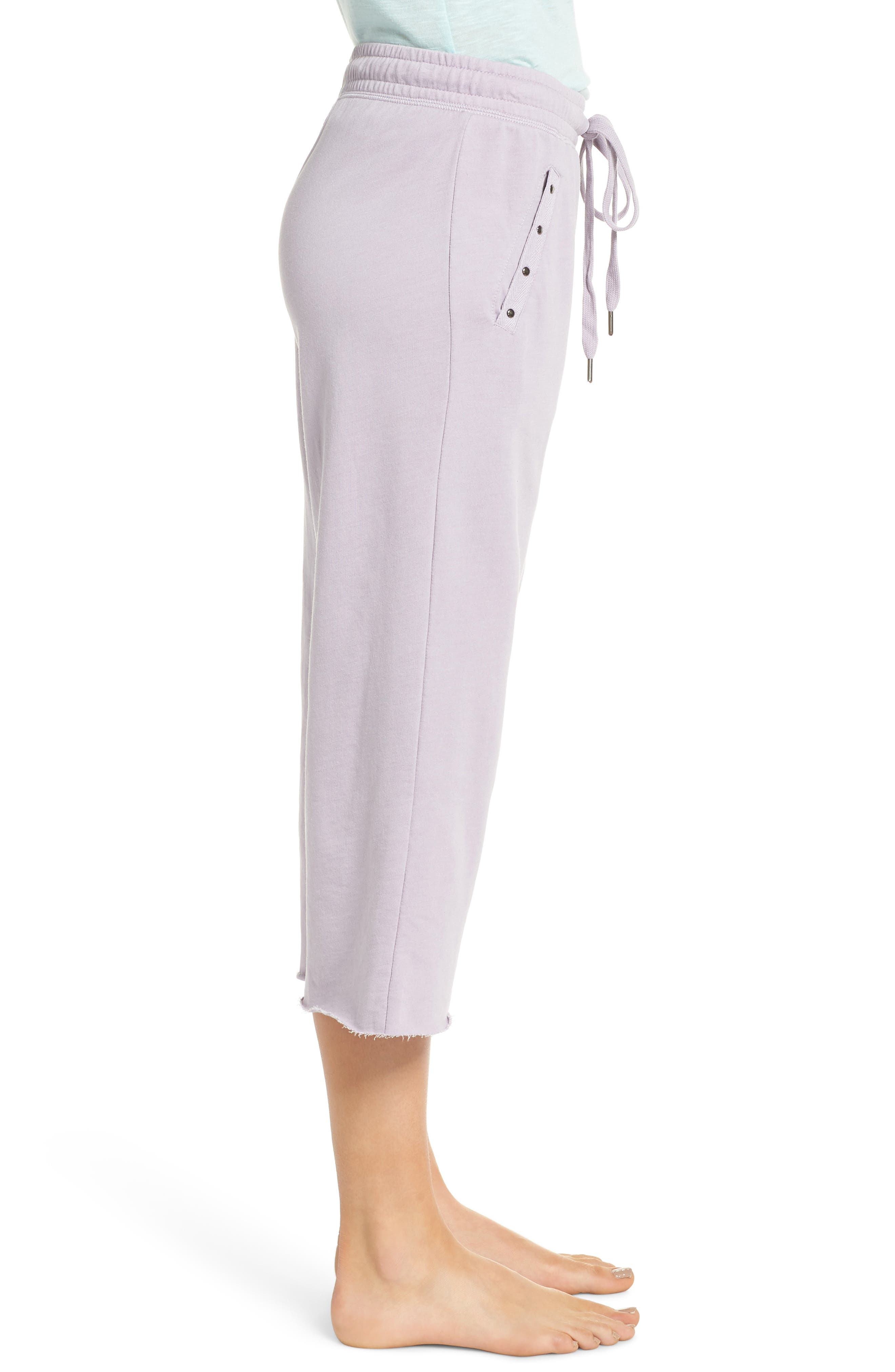 Studded Crop Pajama Pants,                             Alternate thumbnail 3, color,                             Orchid