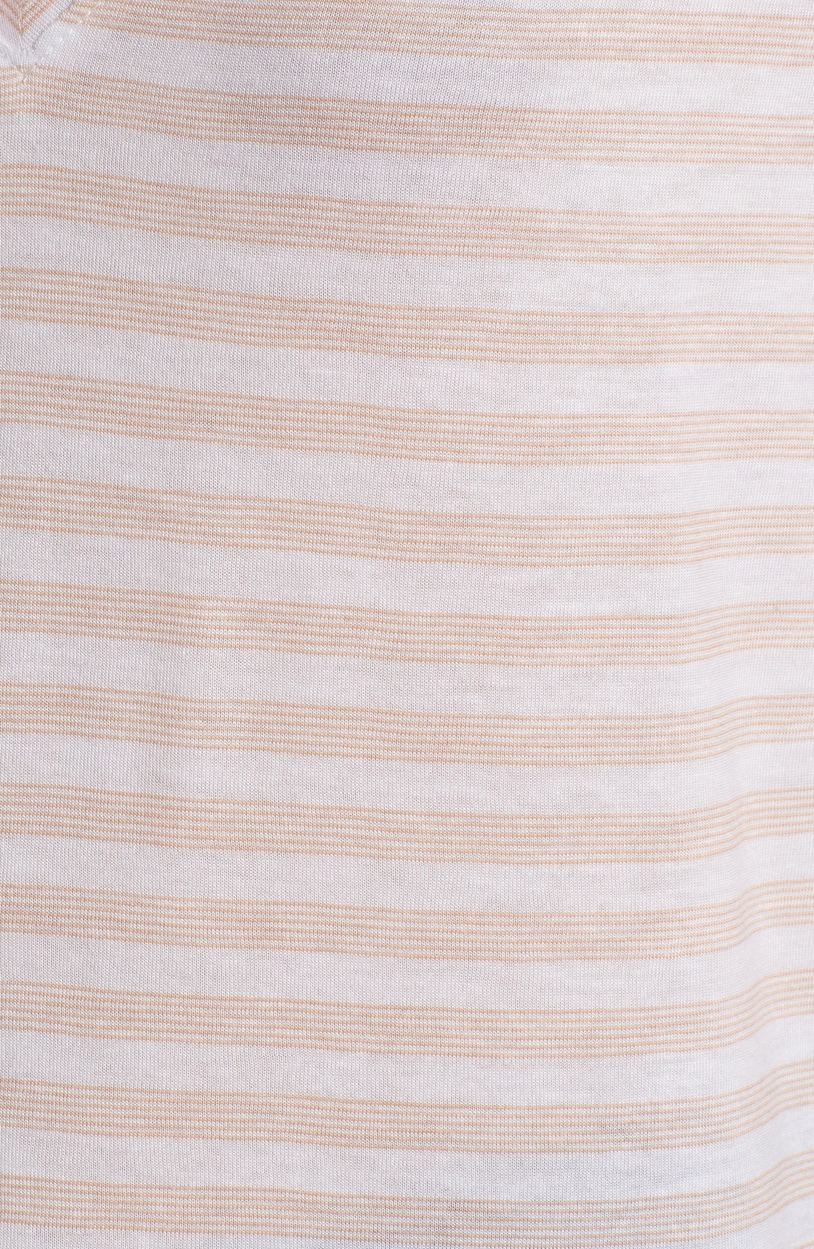 Ruffle Trim Tee,                             Alternate thumbnail 6, color,                             Beige Maple Ripple Stripe