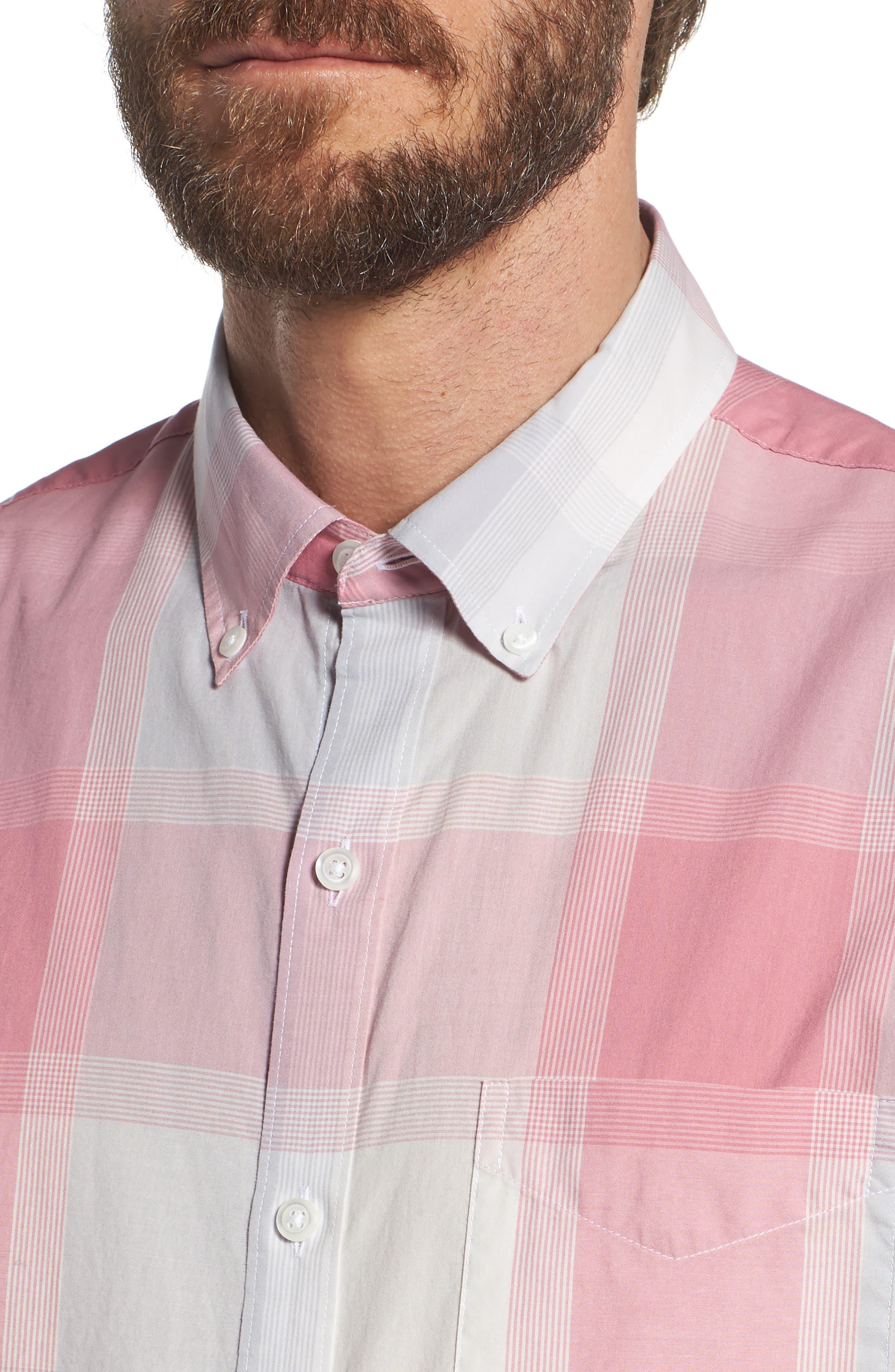 Summerweight Slim Fit Plaid Sport Shirt,                             Alternate thumbnail 2, color,                             Oro Plaid - Pink Sand