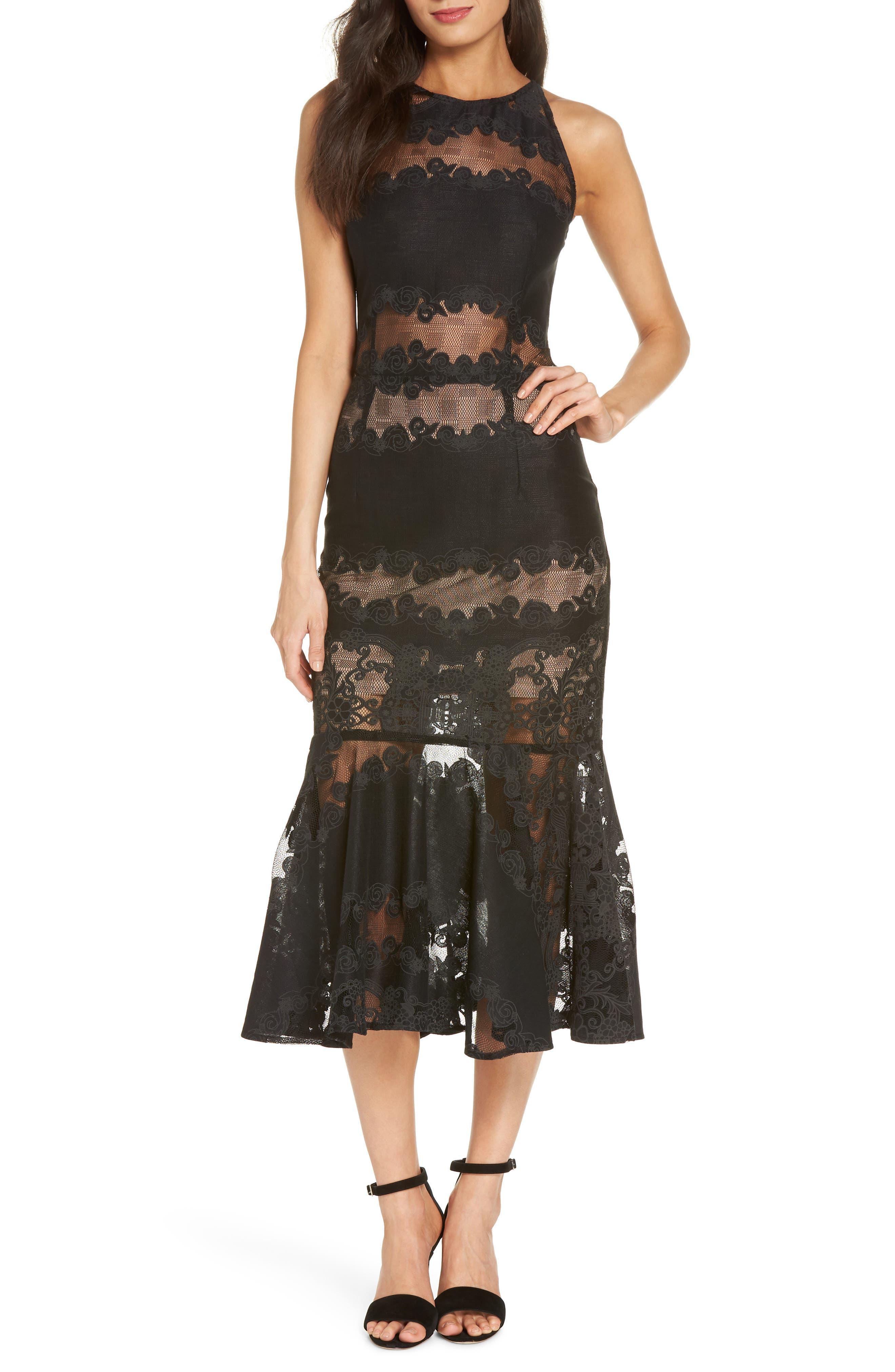 Bettina Lace Panel Tea Length Dress,                             Main thumbnail 1, color,                             Black