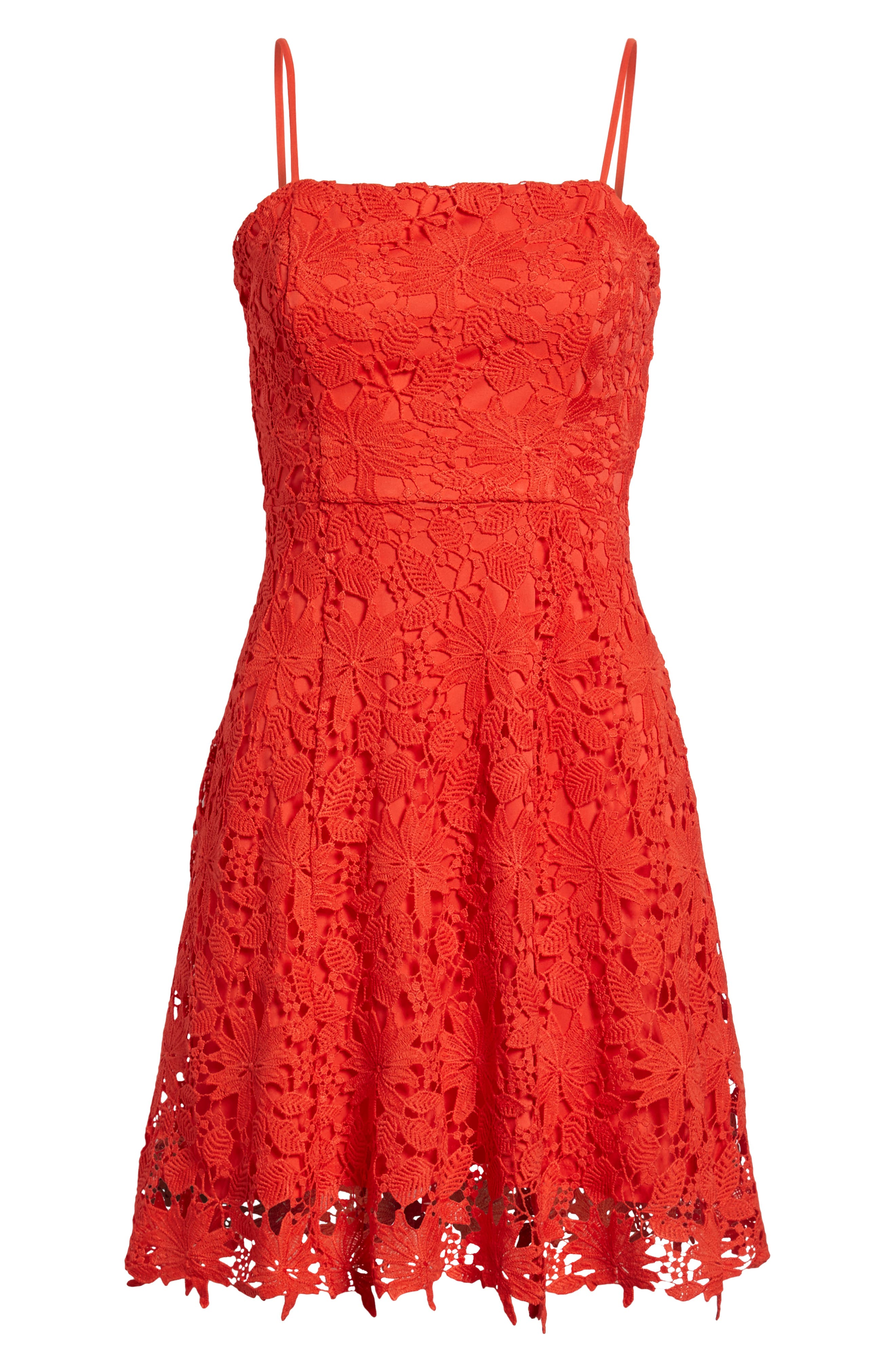Lace Fit & Flare Dress,                             Alternate thumbnail 7, color,                             Candy Red