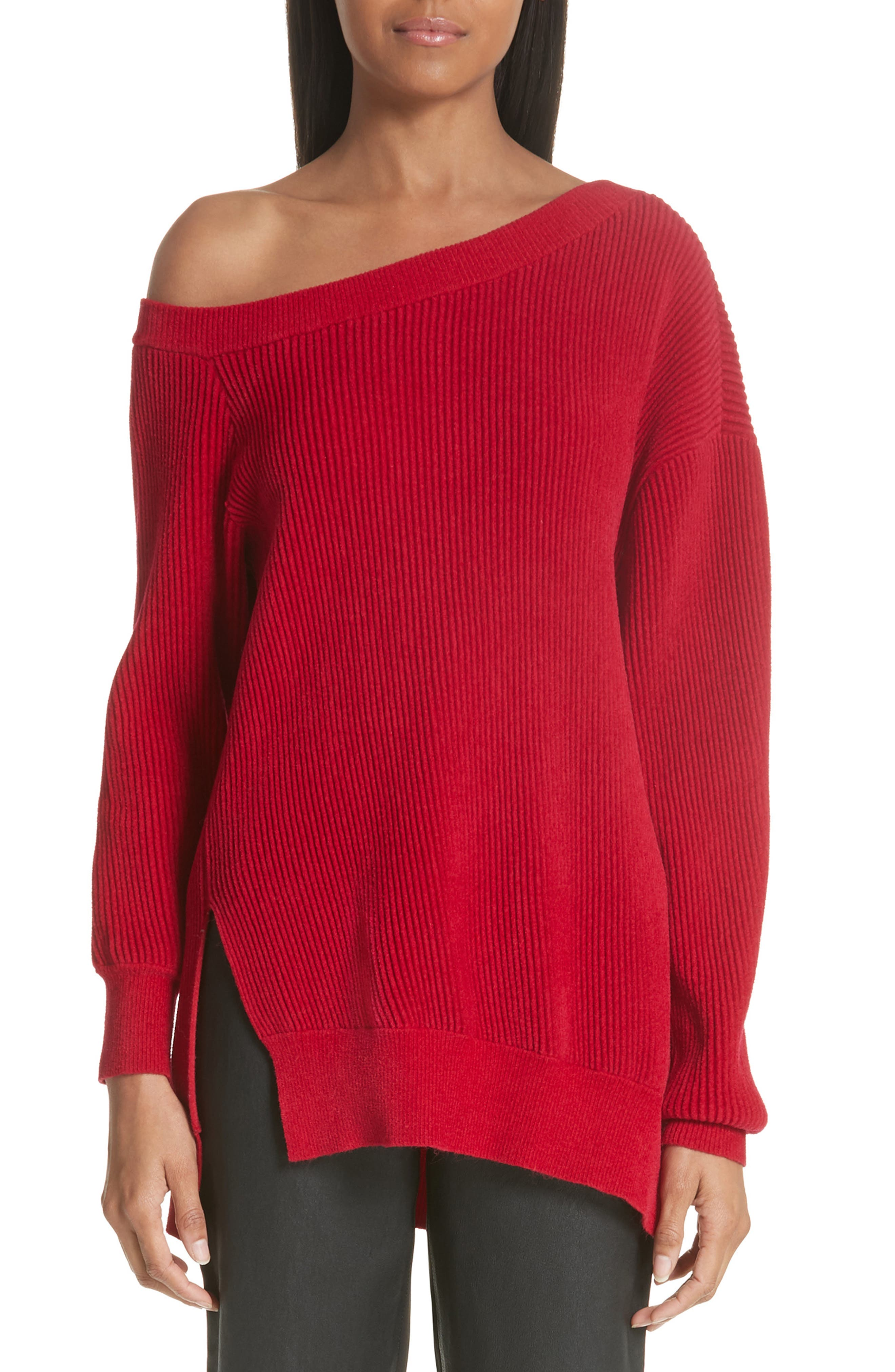 One-Shoulder Sweater,                         Main,                         color, Cardinal-Red
