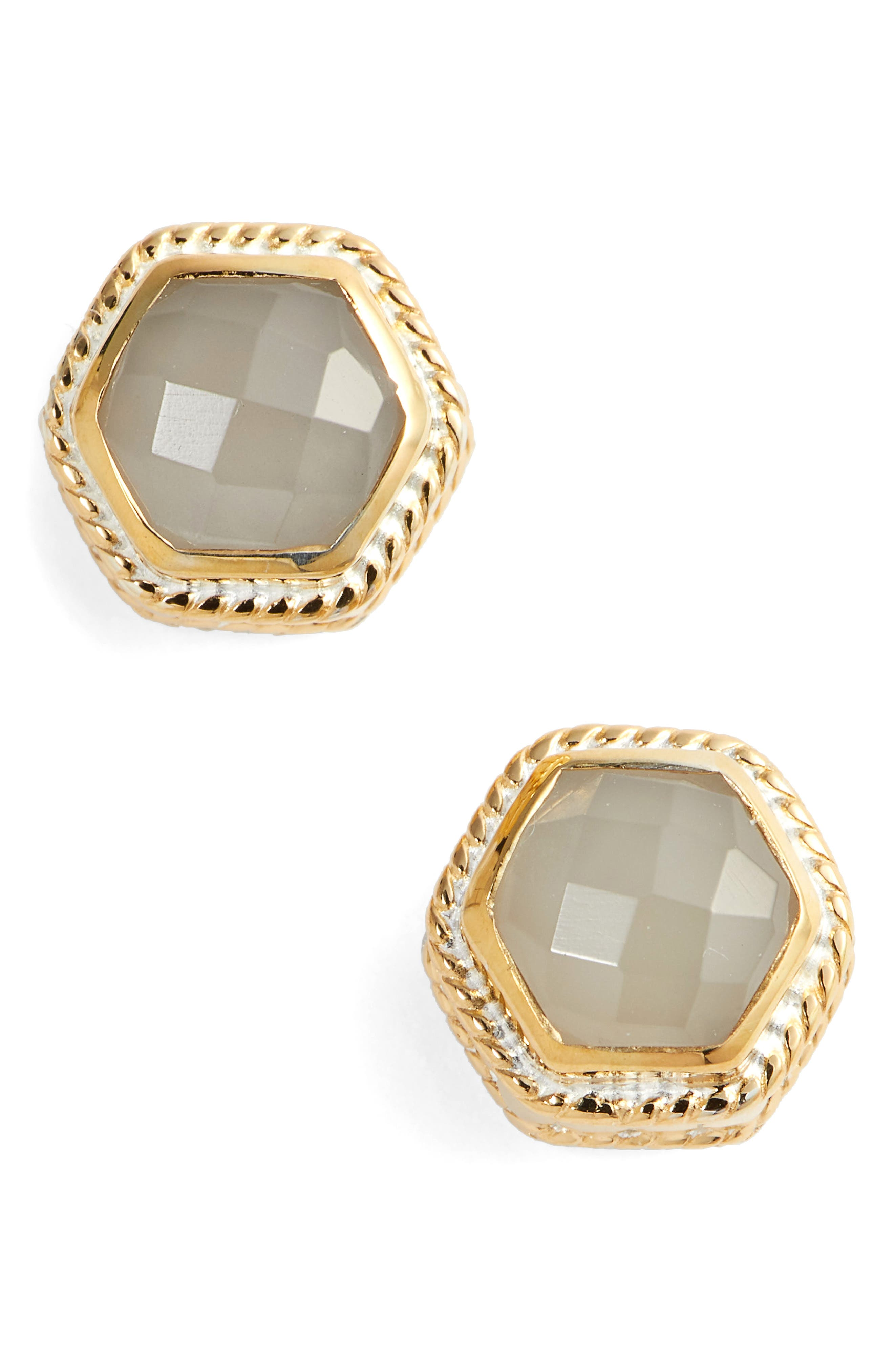 Grey Moonstone Hexagon Stud Earrings,                             Main thumbnail 1, color,                             Gold/ Grey Moonstone