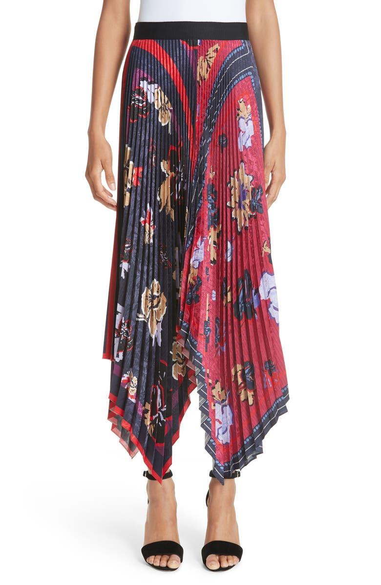 Pleated Handkerchief Hem Skirt