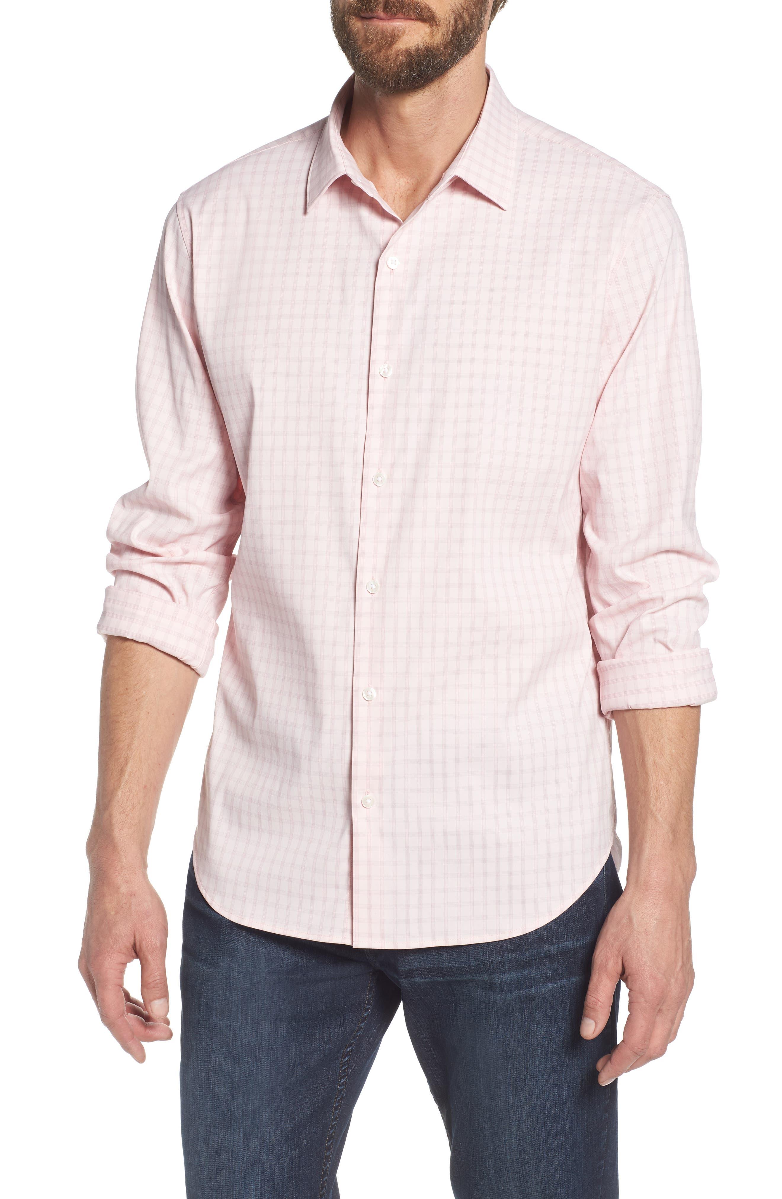 Slim Fit Check Performance Sport Shirt,                             Main thumbnail 1, color,                             Gulf Point Plaid - Skiivy Pink