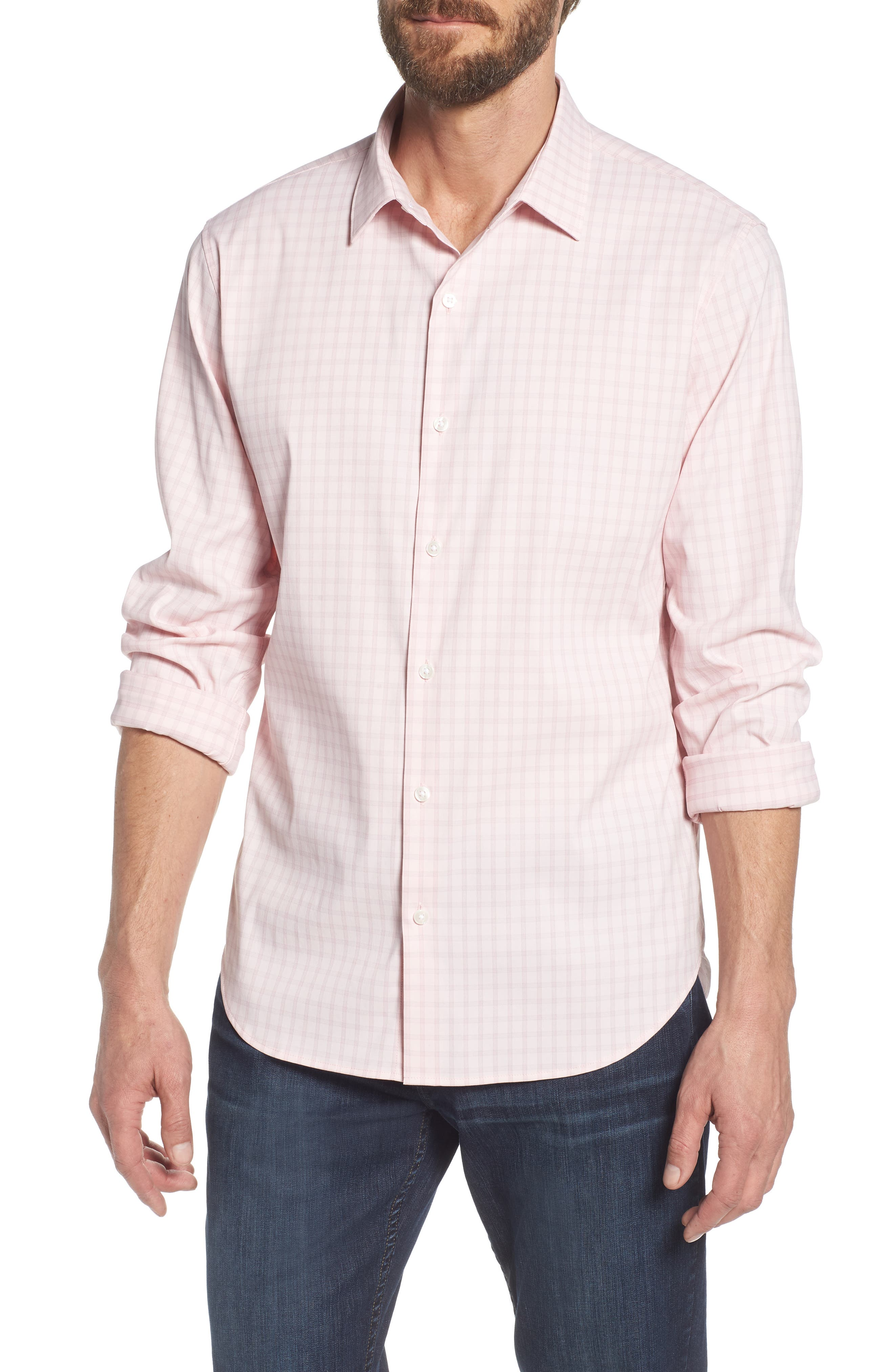 Slim Fit Check Performance Sport Shirt,                         Main,                         color, Gulf Point Plaid - Skiivy Pink