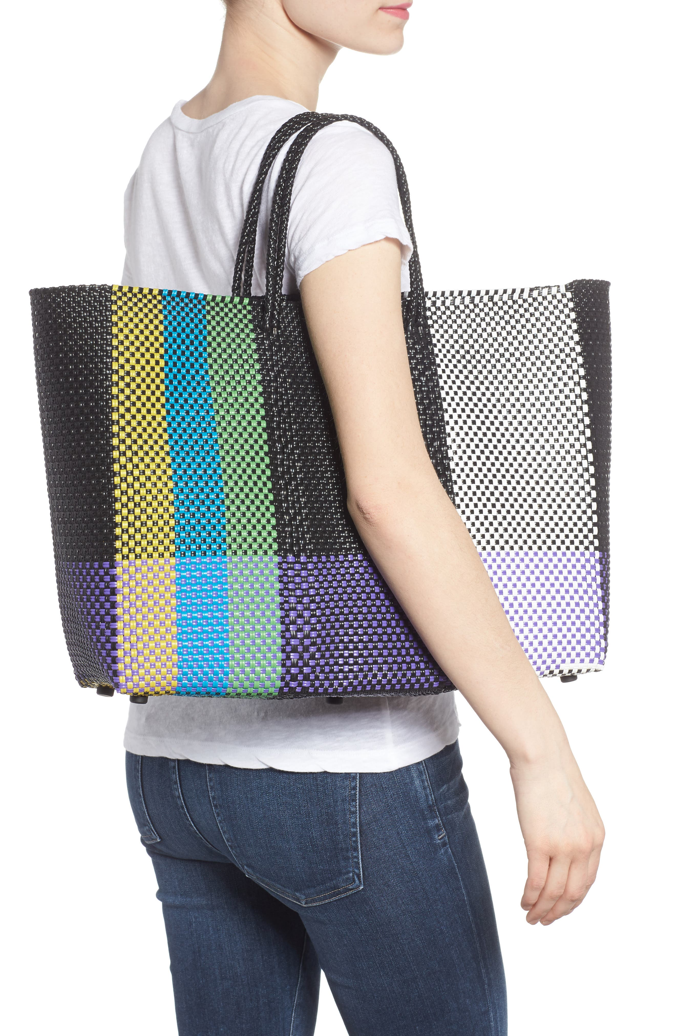 Large Woven Tote,                             Alternate thumbnail 2, color,                             Green/ Yellow