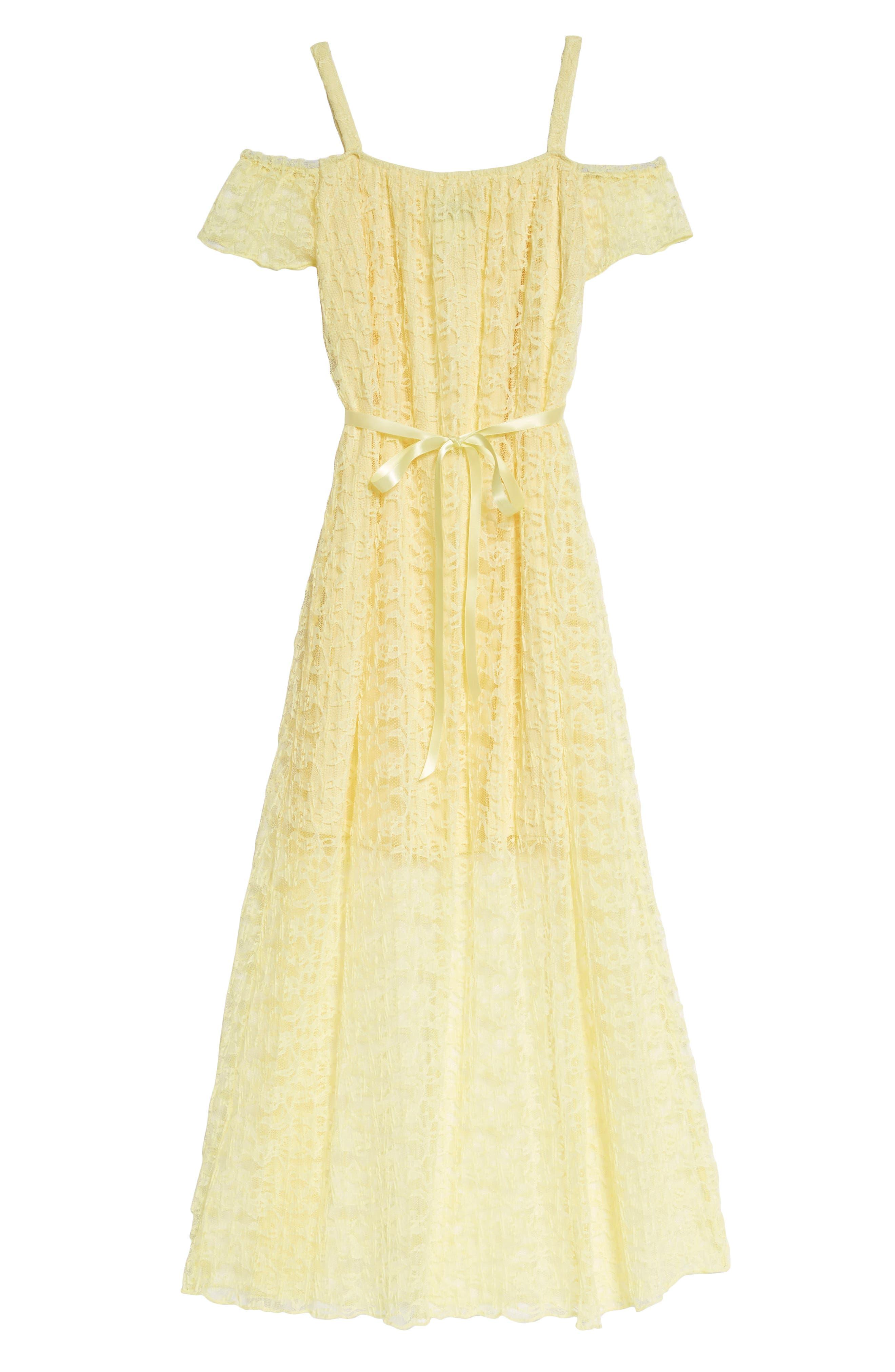 Lace Cold Shoulder Maxi Dress,                             Alternate thumbnail 2, color,                             Yellow