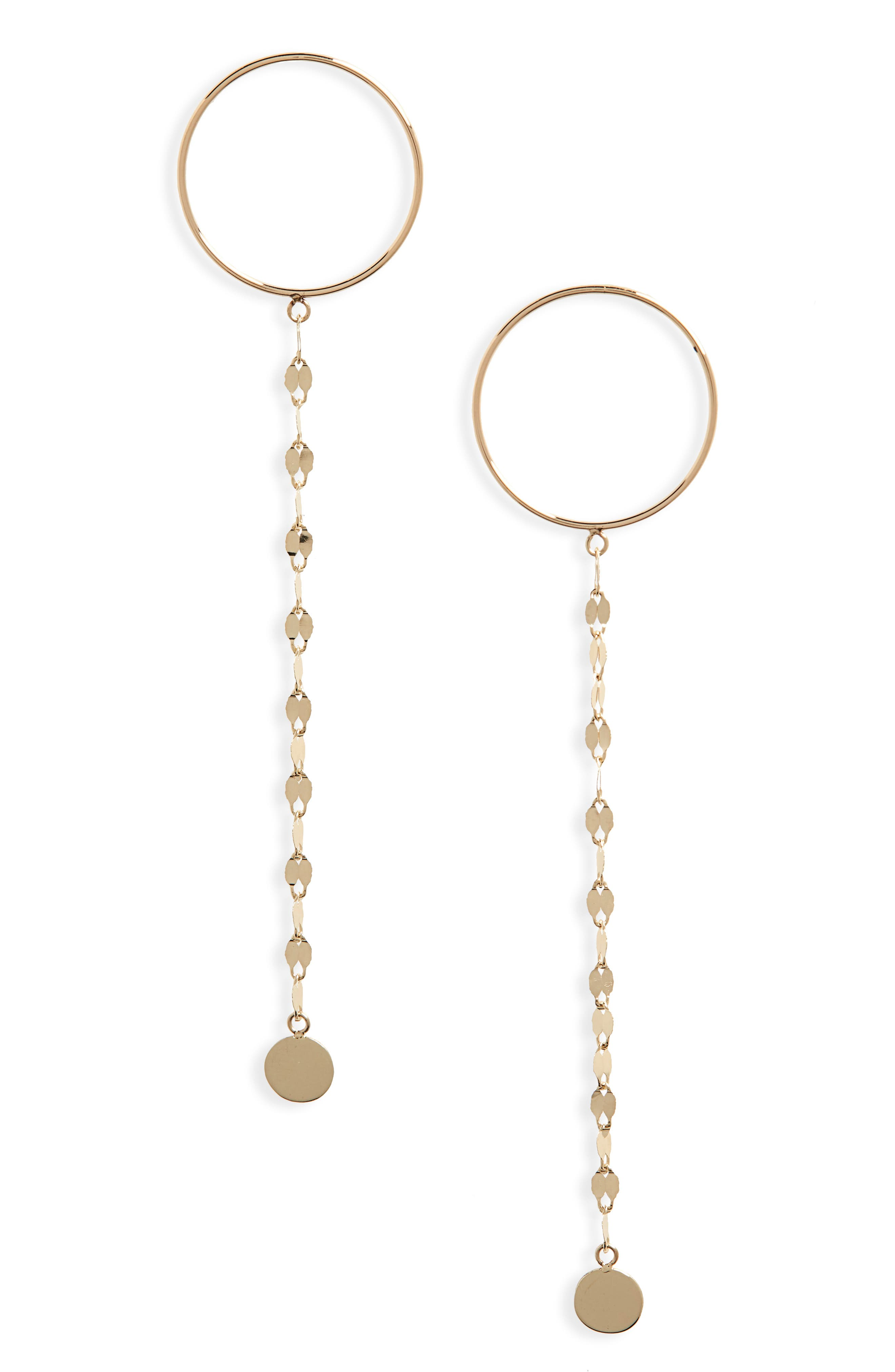 Lana Jewelry Circle Post Linear Chain Drop Earrings