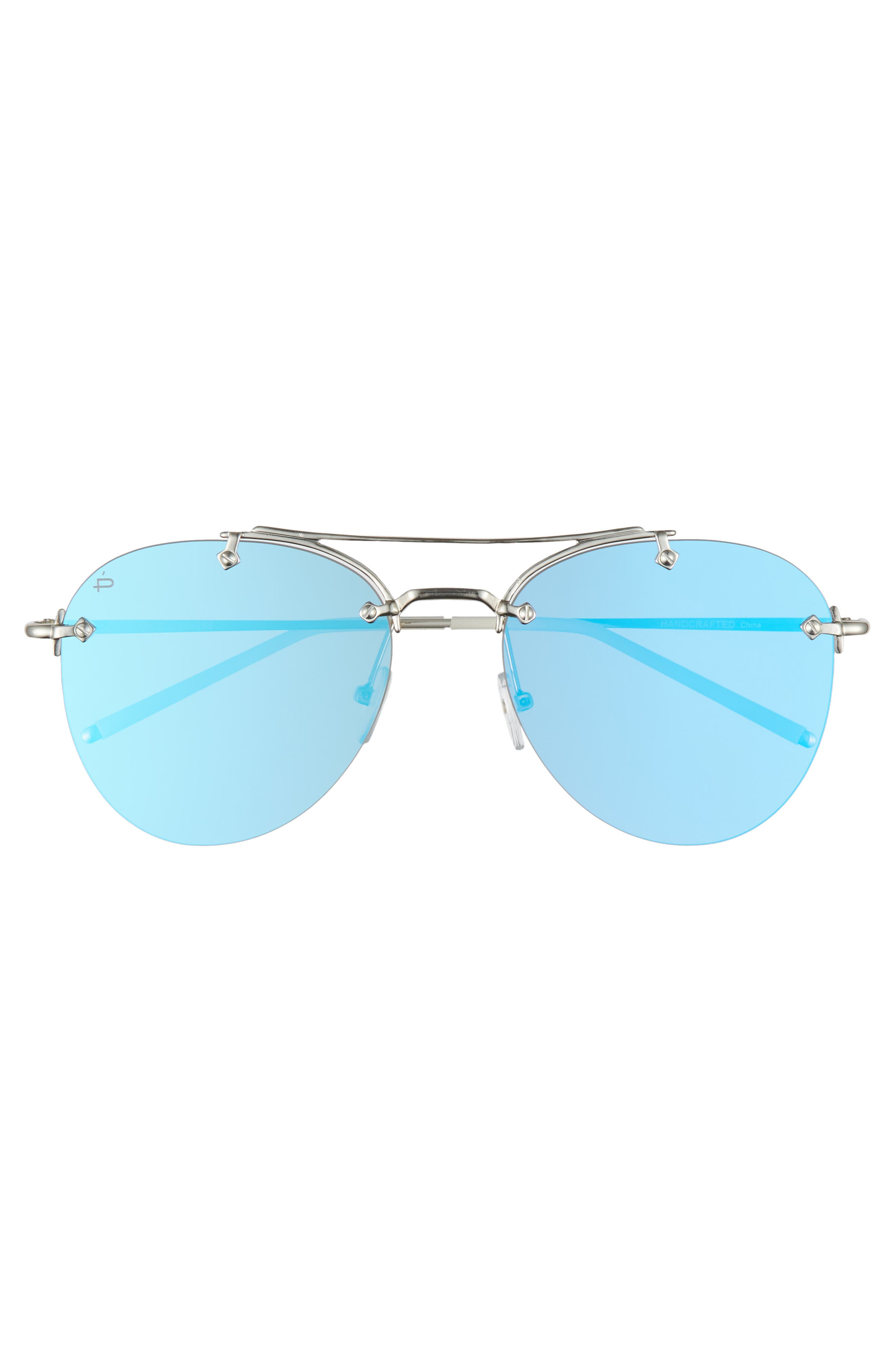 Privé Revaux The Dutchess 57mm Aviator Sunglasses,                             Alternate thumbnail 3, color,                             Silver